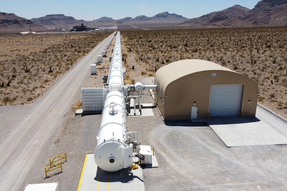 A test hyperloop tube is seen at the Virgin Hyperloop facility near Las Vegas, Nevada, May 5, 2021