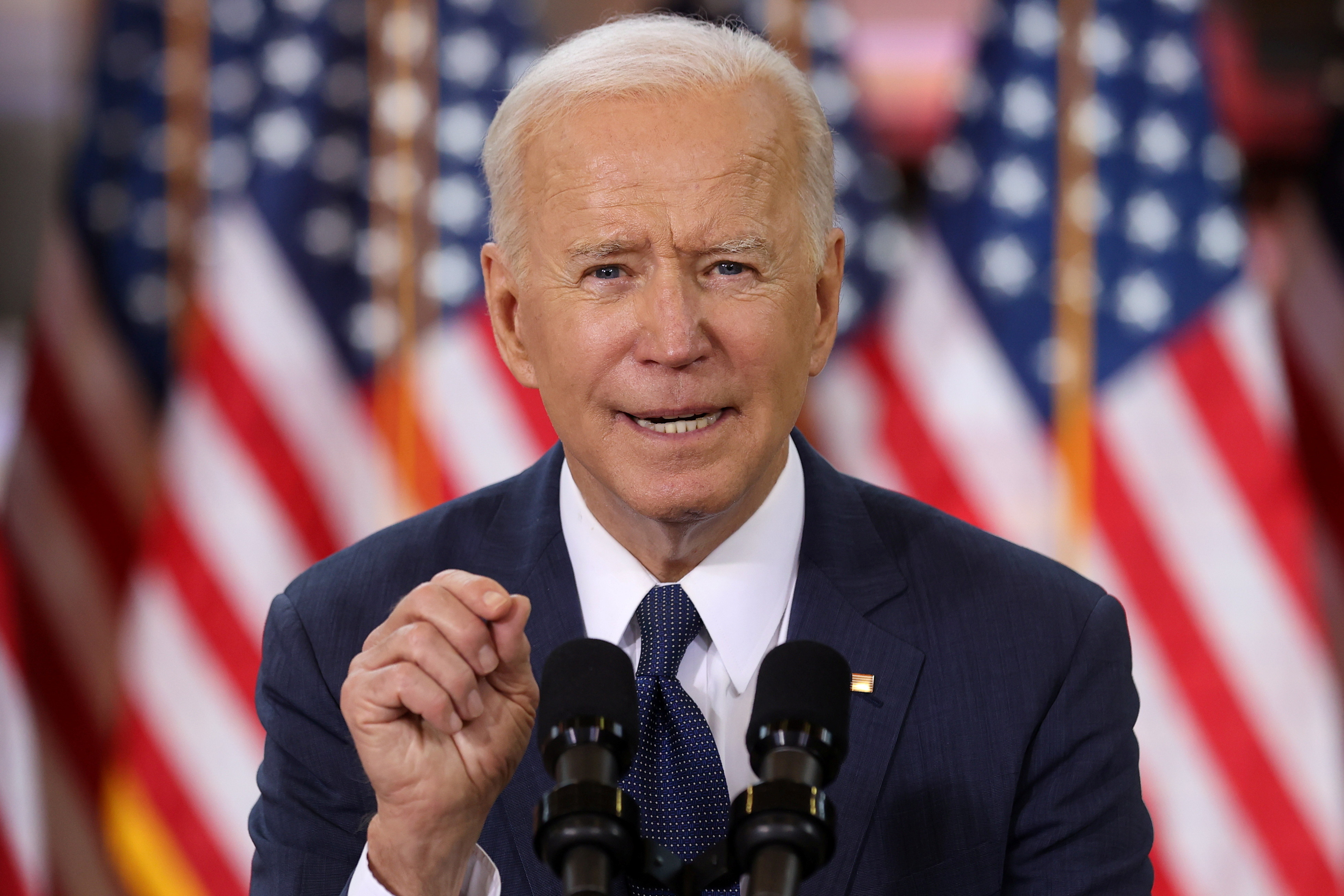 image of U.S. President Joe Biden speaking about his $2 trillion infrastructure plan during an event