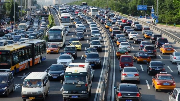 Heavy traffic in Beijing, China.