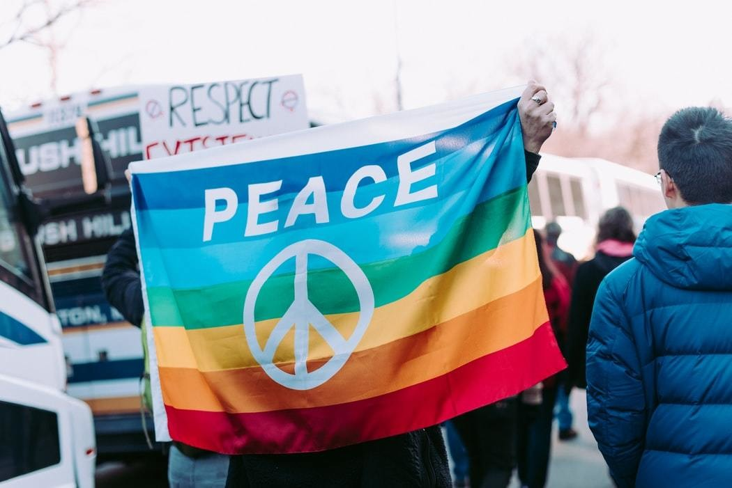 A peace flag at the Women's March in Boston.