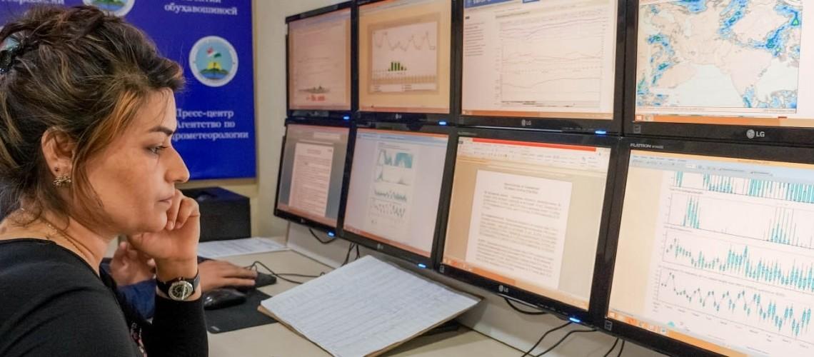 Digital dashboard at the Hydrometeorology Agency of Tajikistan.