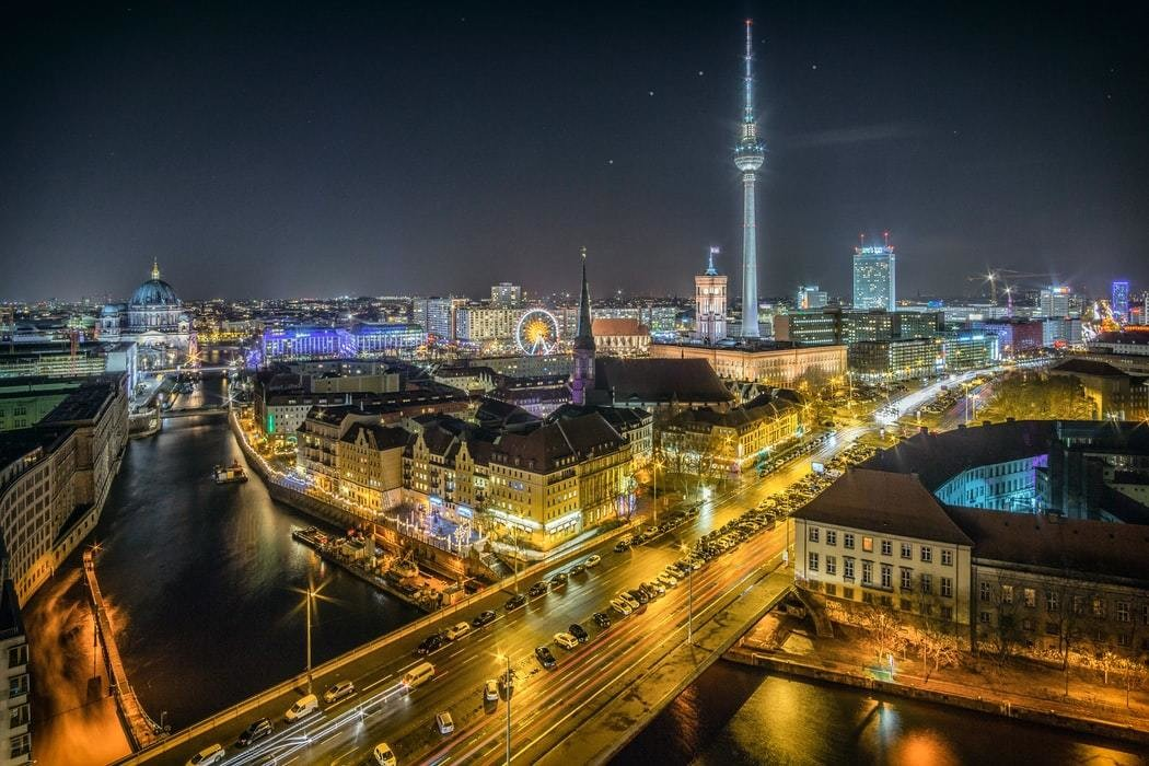 The River Spree and Alexanderplatz in Berlin.