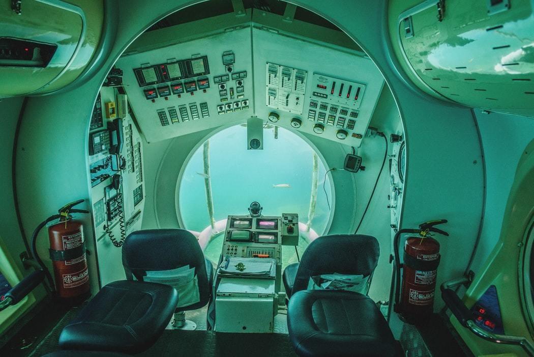 Inside of a submarine.