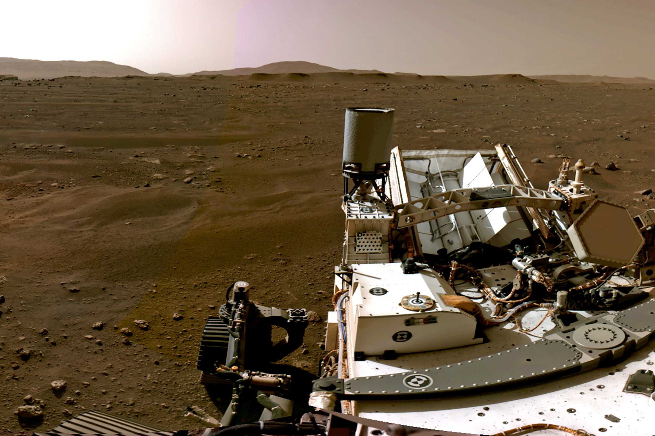 A picture of NASA's Perseverance Mars Rover on the surface of the red planet.