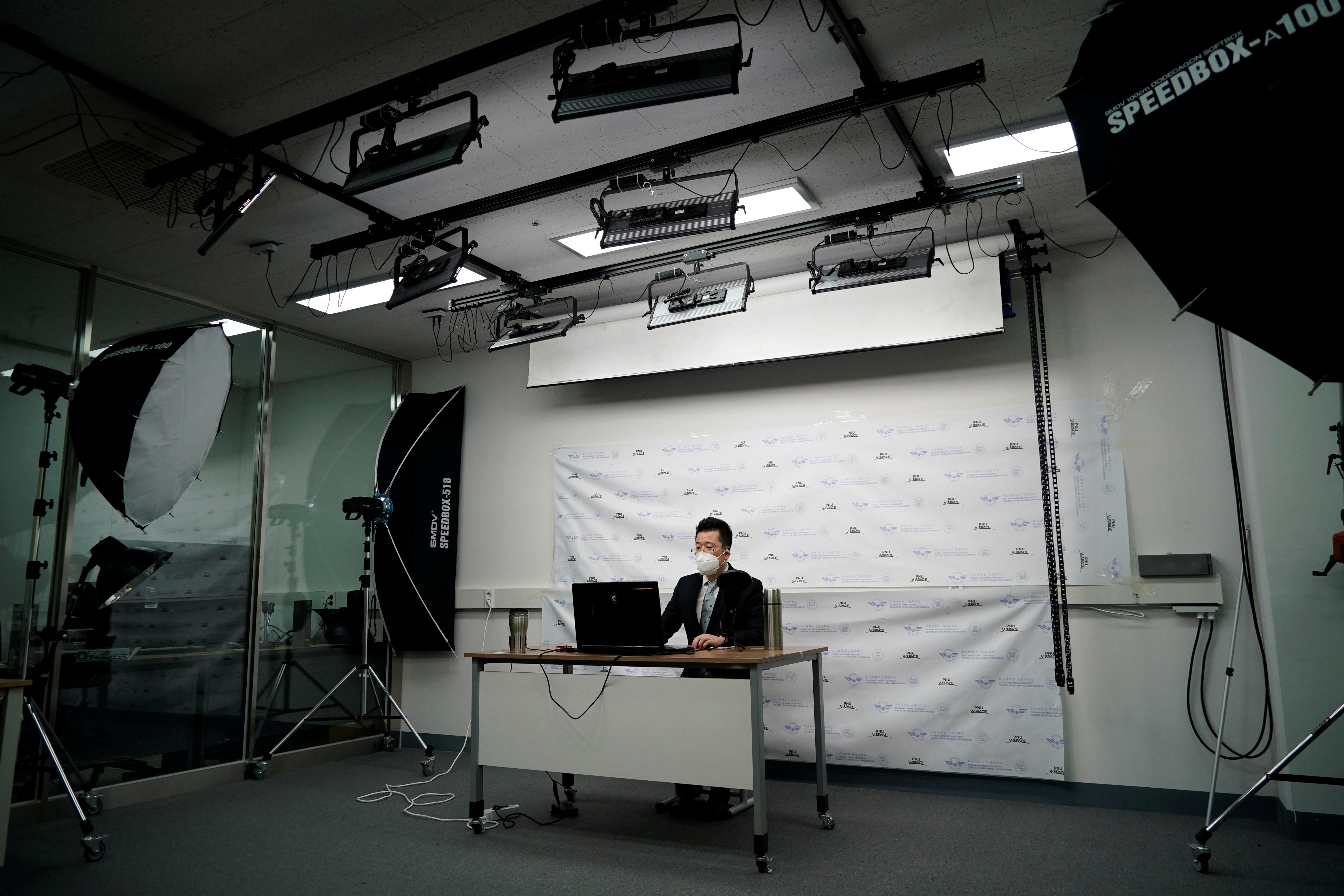 A professor of Pusan National University Park Hyun who used to be a coronavirus patient, gives an online lecture at Pusan National University in Busan, South Korea, March 30, 2020.