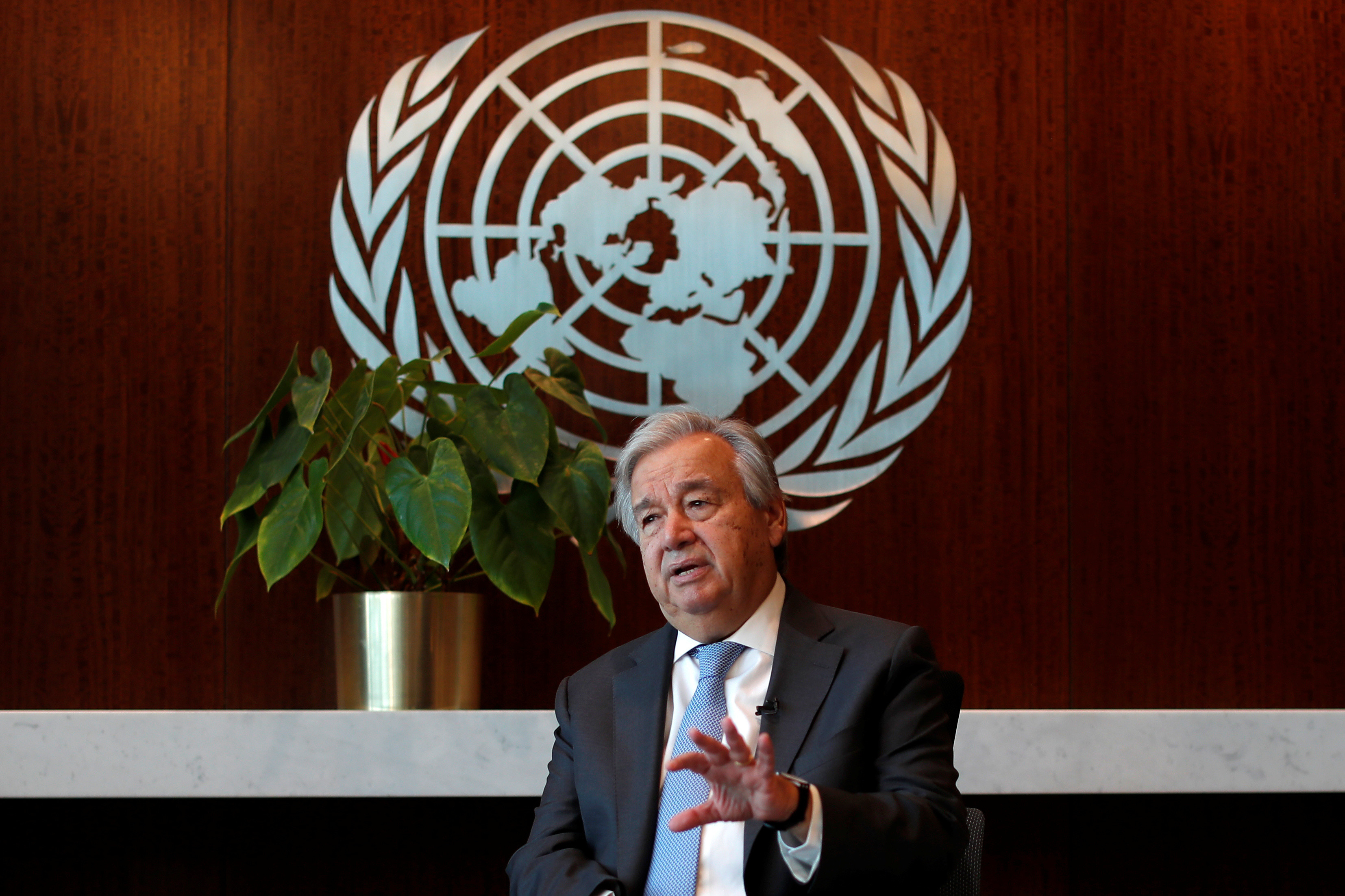 United Nations Secretary-General Antonio Guterres speaks during an interview with Reuters at U.N. headquarters in New York City, New York, U.S., September 14, 2020. Picture taken September 14, 2020. REUTERS/Mike Segar - RC2WYI9TQ196