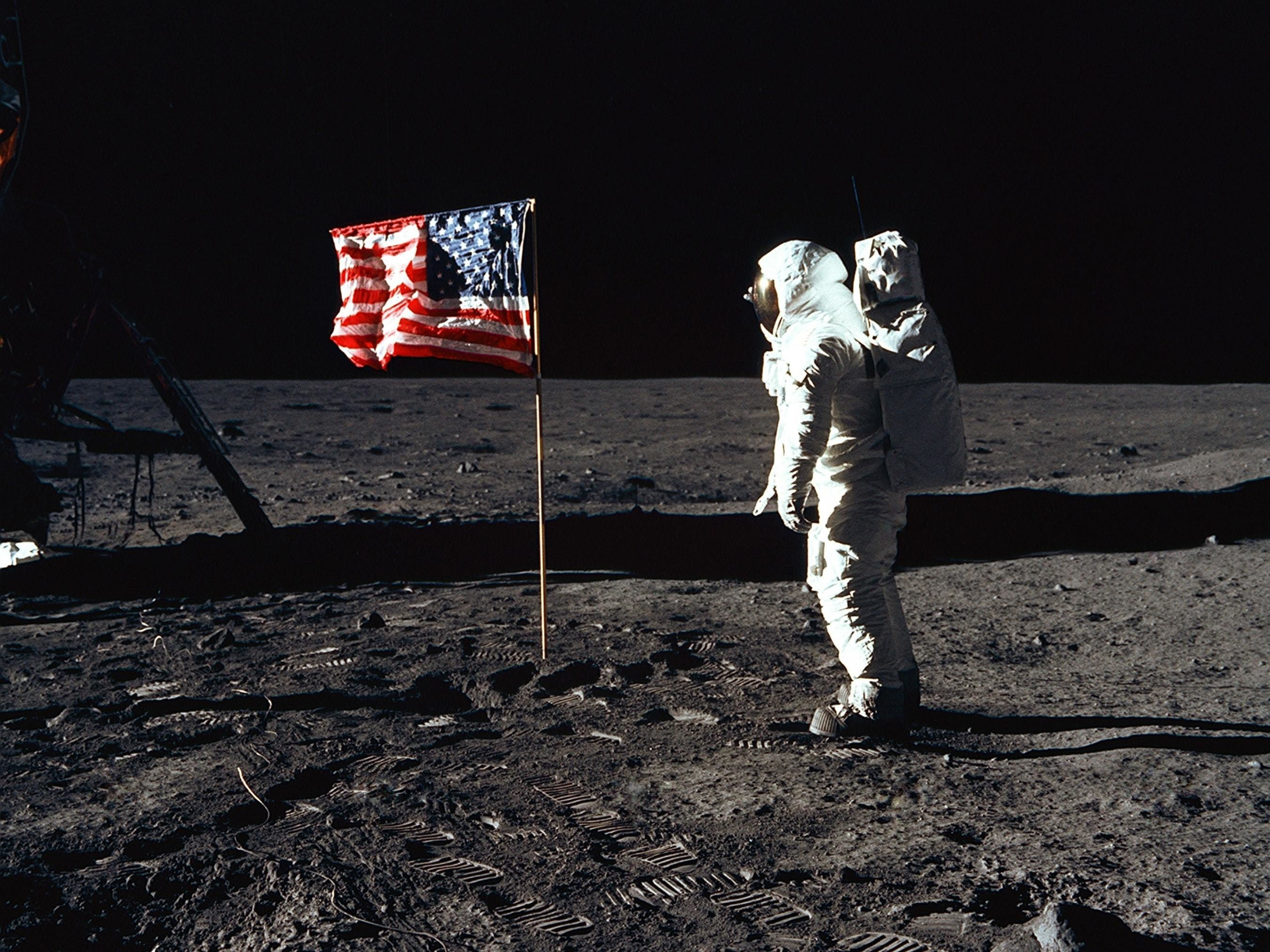 Astronaut Buzz Aldrin participated in an Apollo 11 Extravehicular Activity on the lunar surface.