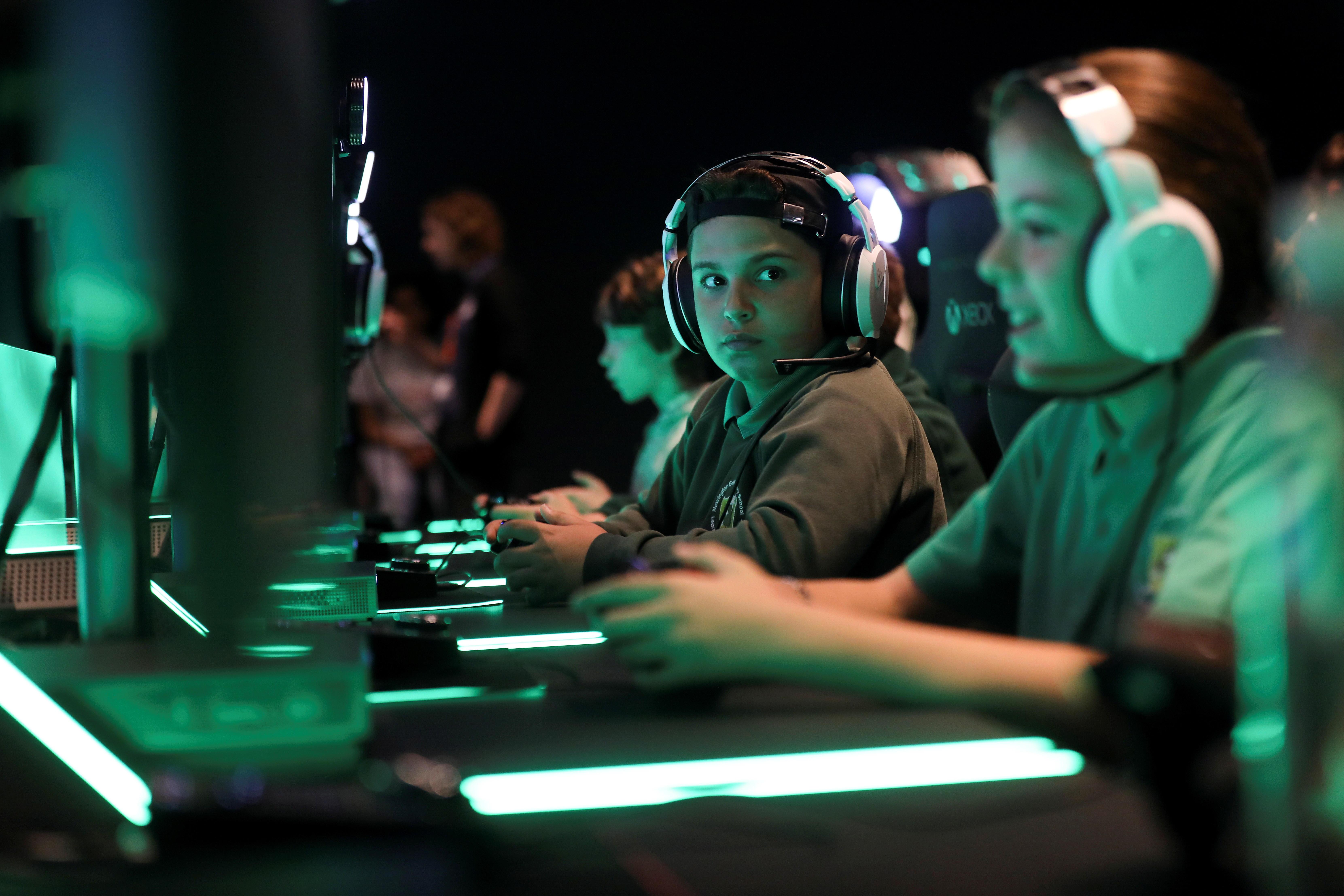 Young gamers play Xbox at Microsoft's new Oxford Circus store ahead of its opening in London.
