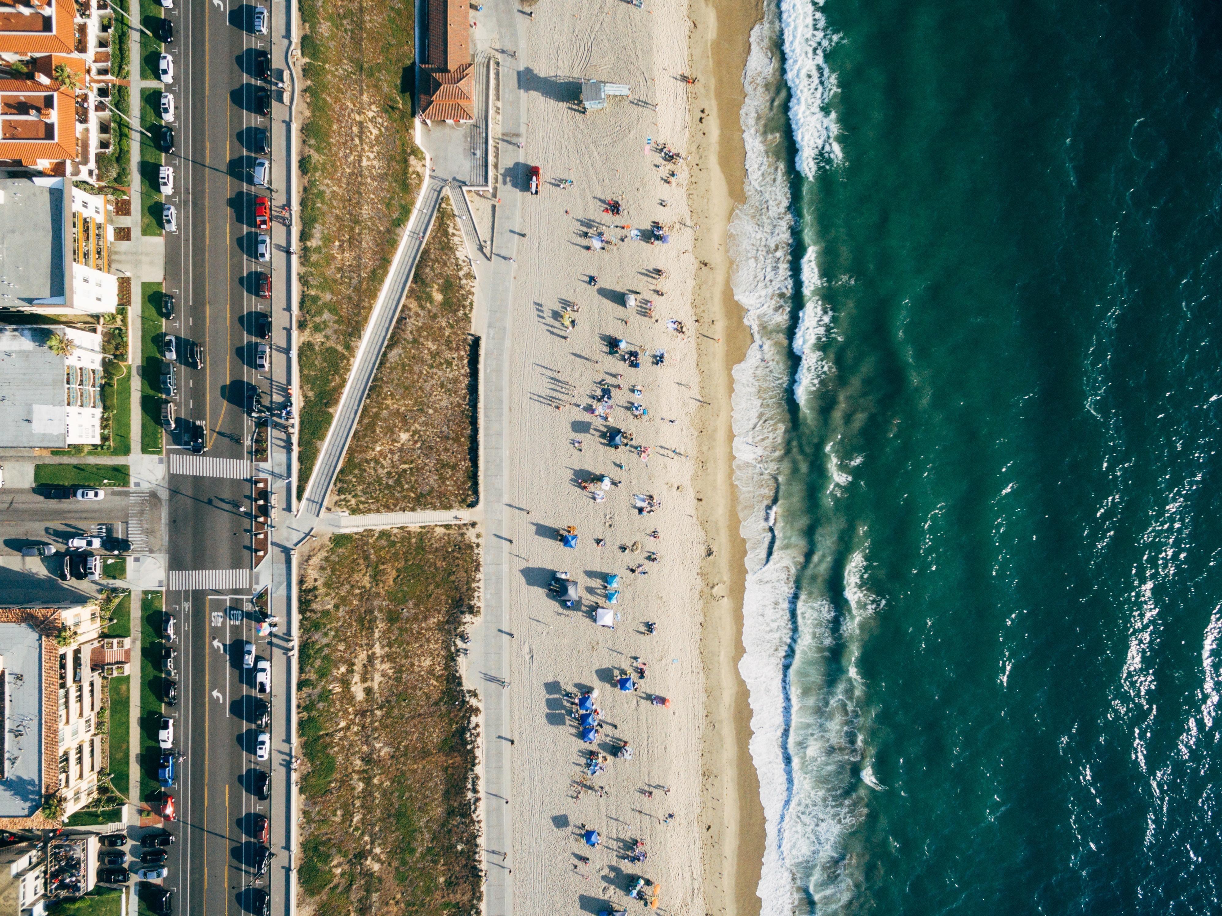 The California coastline.