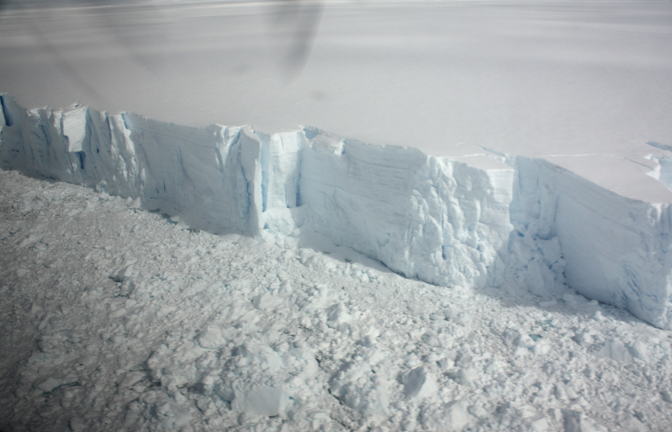 A 20 metre-high ice cliff forming the edge of the Wilkins Ice shelf on the Antarctic Peninsula is seen from a plane January 18, 2009. The huge Antarctic ice shelf is on the brink of collapse with just a sliver of ice holding it in place, the latest victim of global warming that is altering maps of the frozen continent.