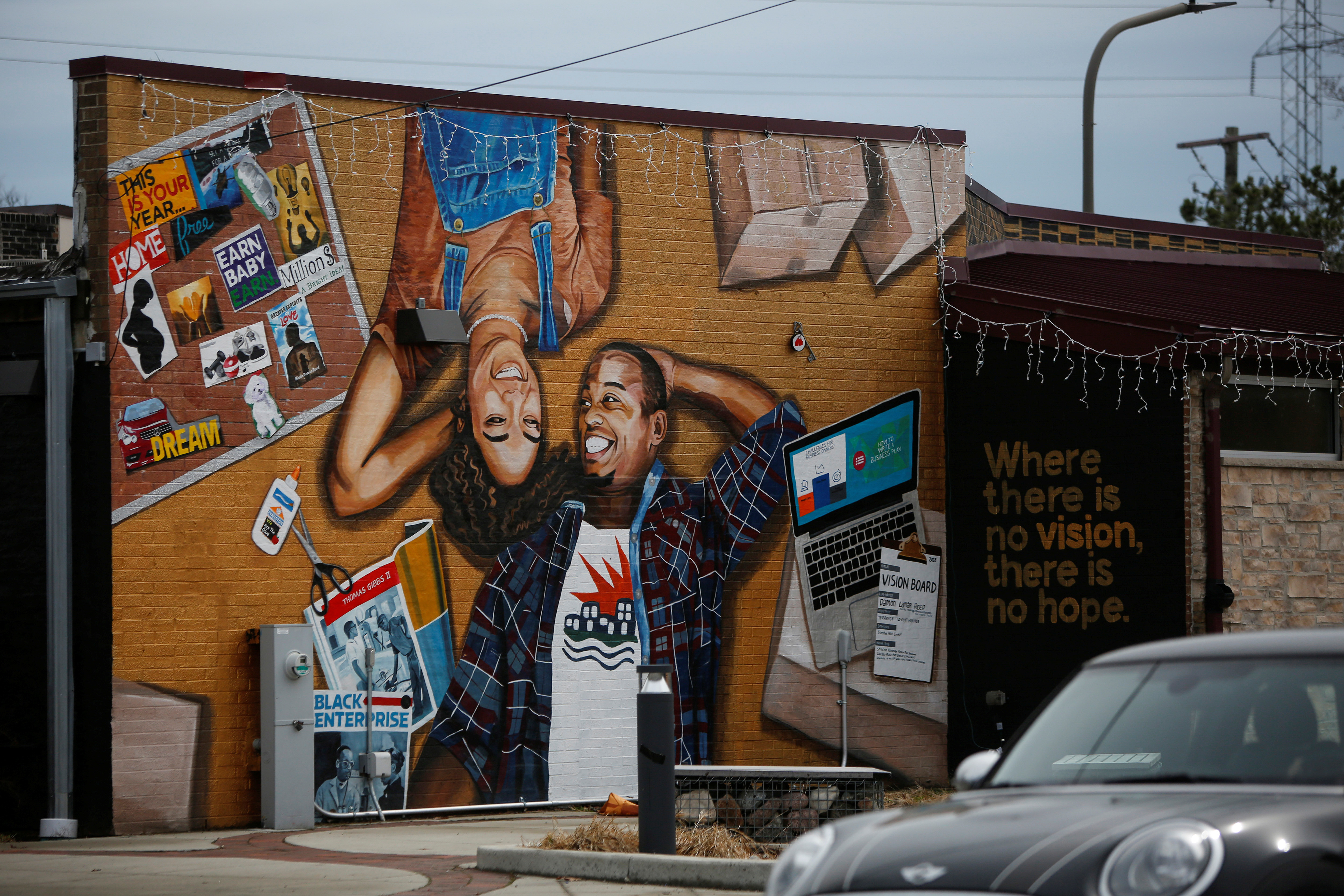 A mural is displayed on Litehouse Whole Food Grill on Dodge Avenue in the Fifth Ward, known as the historic Black community, in Evanston, Illinois, U.S., March 18, 2021.