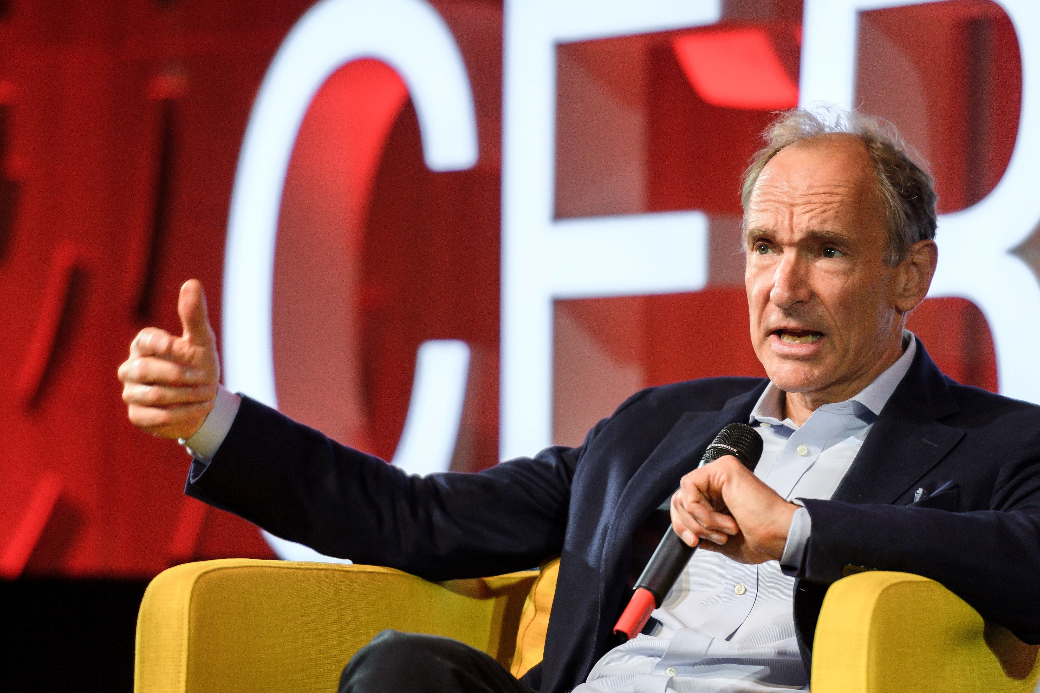 World Wide Web inventor Tim Berners-Lee delivers a speech during an event marking 30 years of World Wide Web, on March 12, 2019 at the CERN in Meyrin near Geneva, Switzerland. Fabrice Coffrini/Pool via REUTERS - RC17D75E6930
