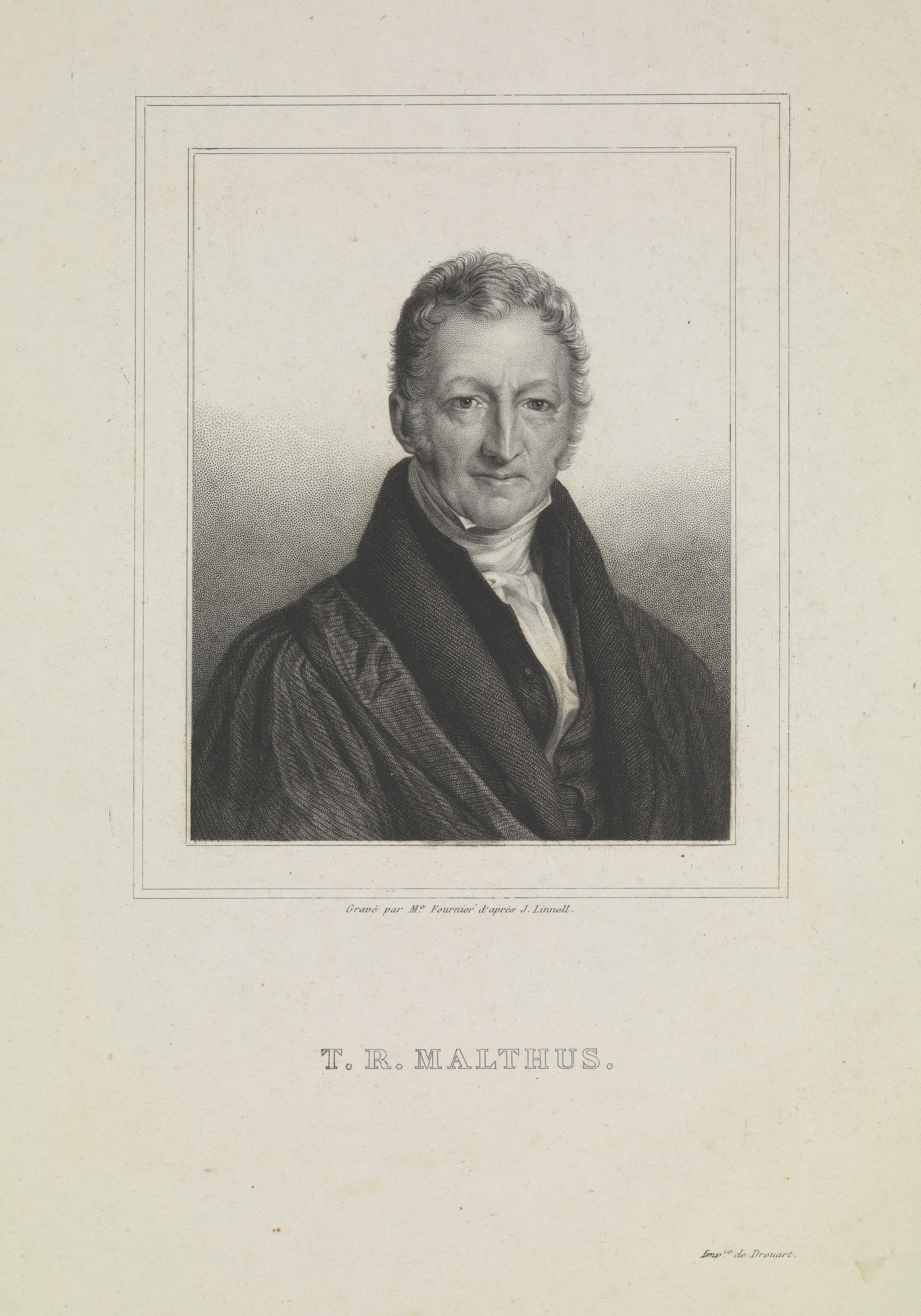 An engraving of Thomas Robert Malthus, typical of