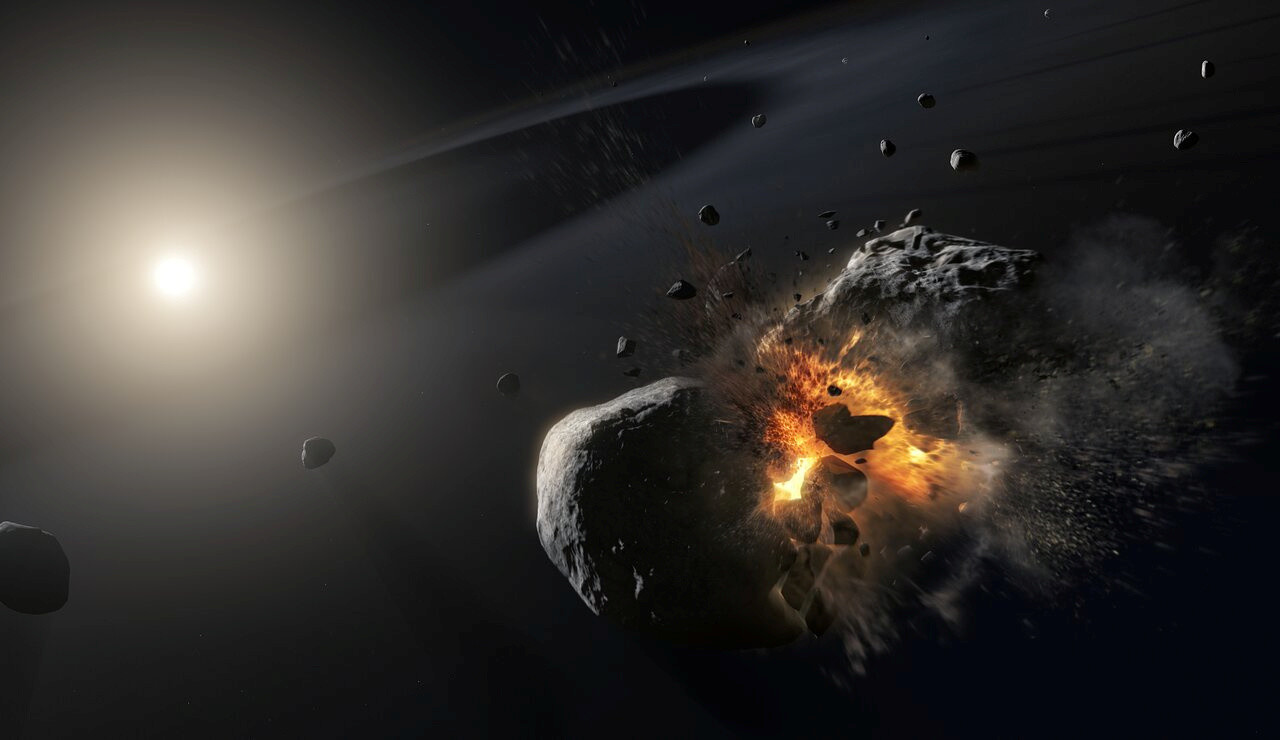 Artist's impression of a collision of two icy asteroid-sized bodies orbiting the bright star.