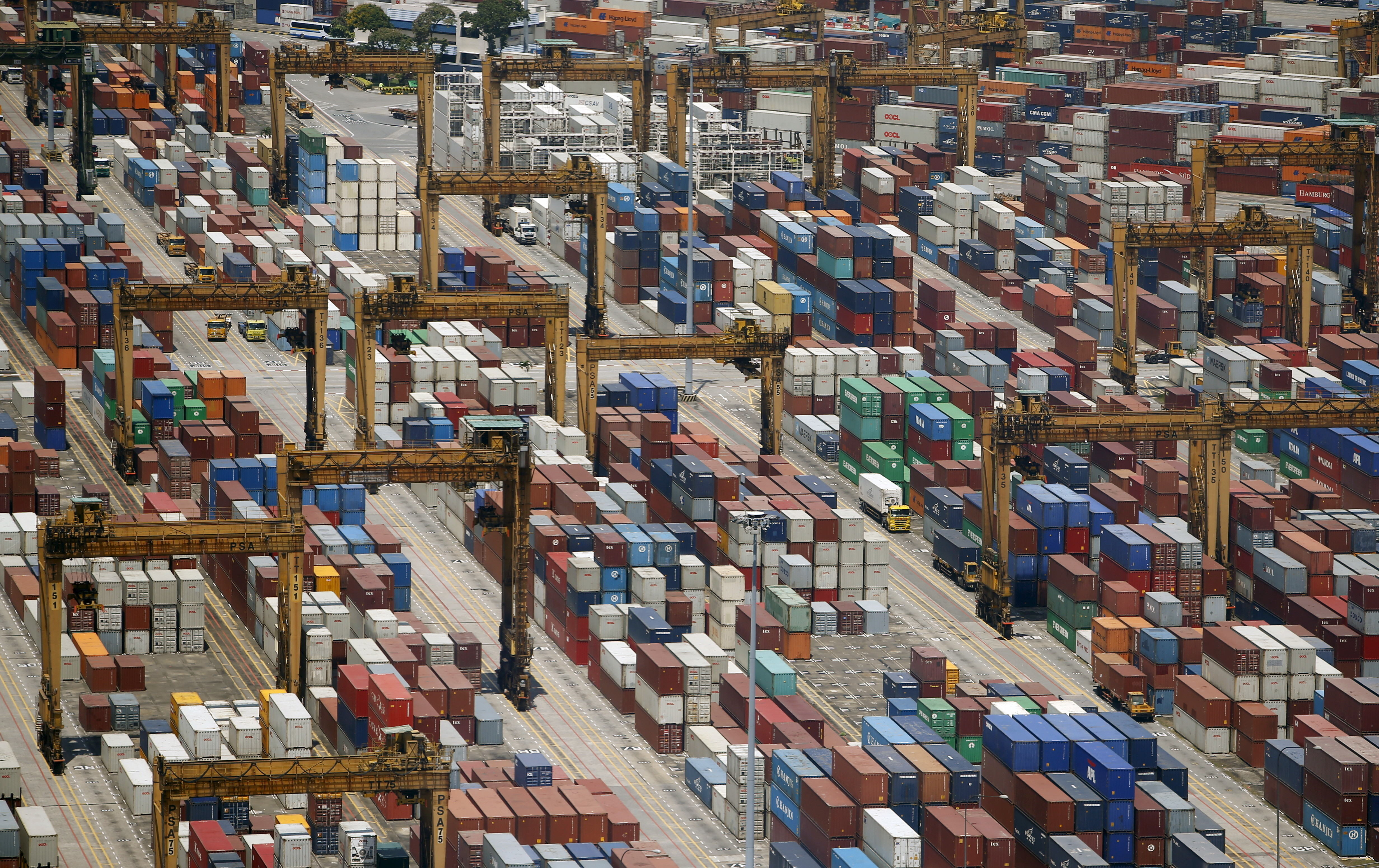 Containers are stacked up at PSA's Tanjong Pagar container terminal in Singapore July 24, 2015. When Singapore celebrated its 50th birthday as an independent country in August, the city state bore little resemblance to the tiny island nation that was expelled from Malaysia in 1965. Its physical stature has swollen by 20 percent thanks to one of the world's most aggressive land reclamation drives.  REUTERS/Edgar SuPICTURE 4 OF 31 FOR WIDER IMAGE STORY 'EARTHPRINTS: SINGAPORE' SEARCH 'EARTHPRINTS SINGAPORE' FOR ALL IMAGES - GF20000065701