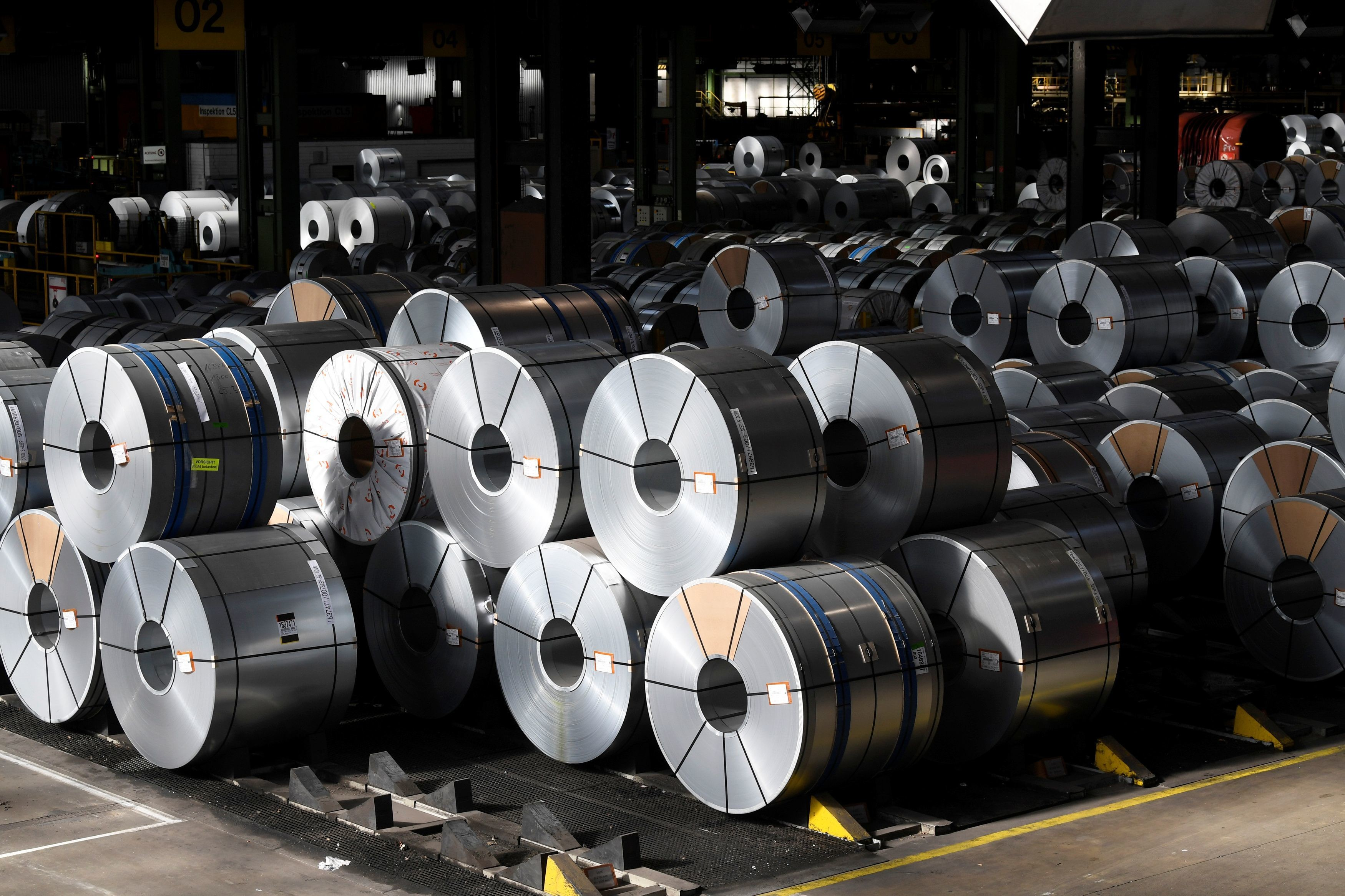 Steel rolls are pictured at the plant of German steel company Salzgitter AG in Salzgitter, Germany March 2, 2020. REUTERS/Fabian Bimmer - RC2QBF9NO8ZI