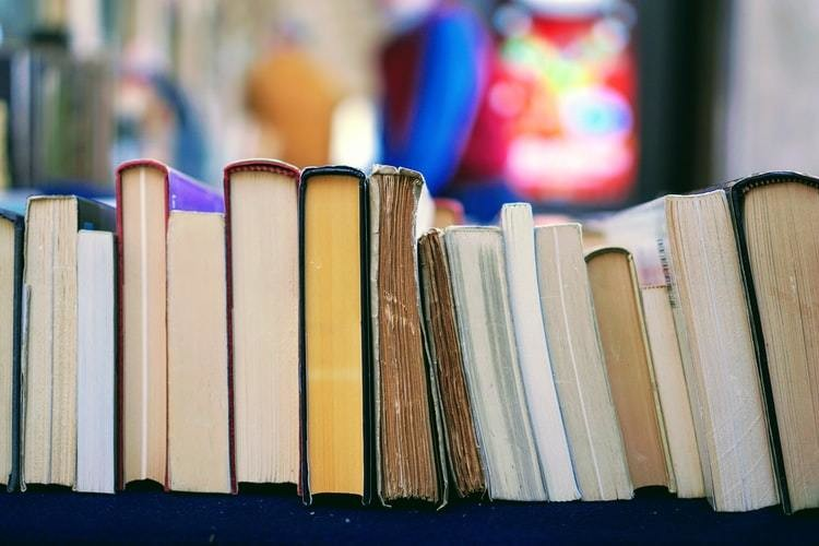 A line of books seen on a bookcase.