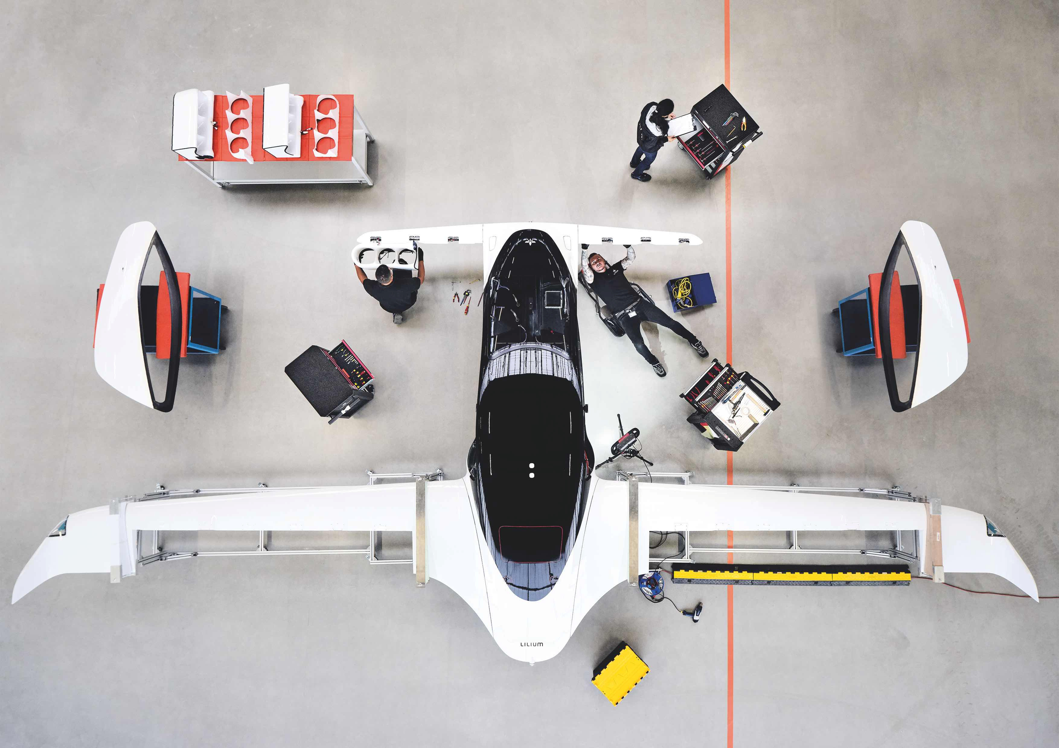 A handout picture from Munich flying taxi startup Lilium shows its five-seater prototype in Munich, Germany, October 10, 2019. Lilium says they achieved speeds of more than 100 km/h in test flights, as it announces investments to build hundreds of the aircraft with a view to commercial launch in 2025. Picture taken October 10, 2019.