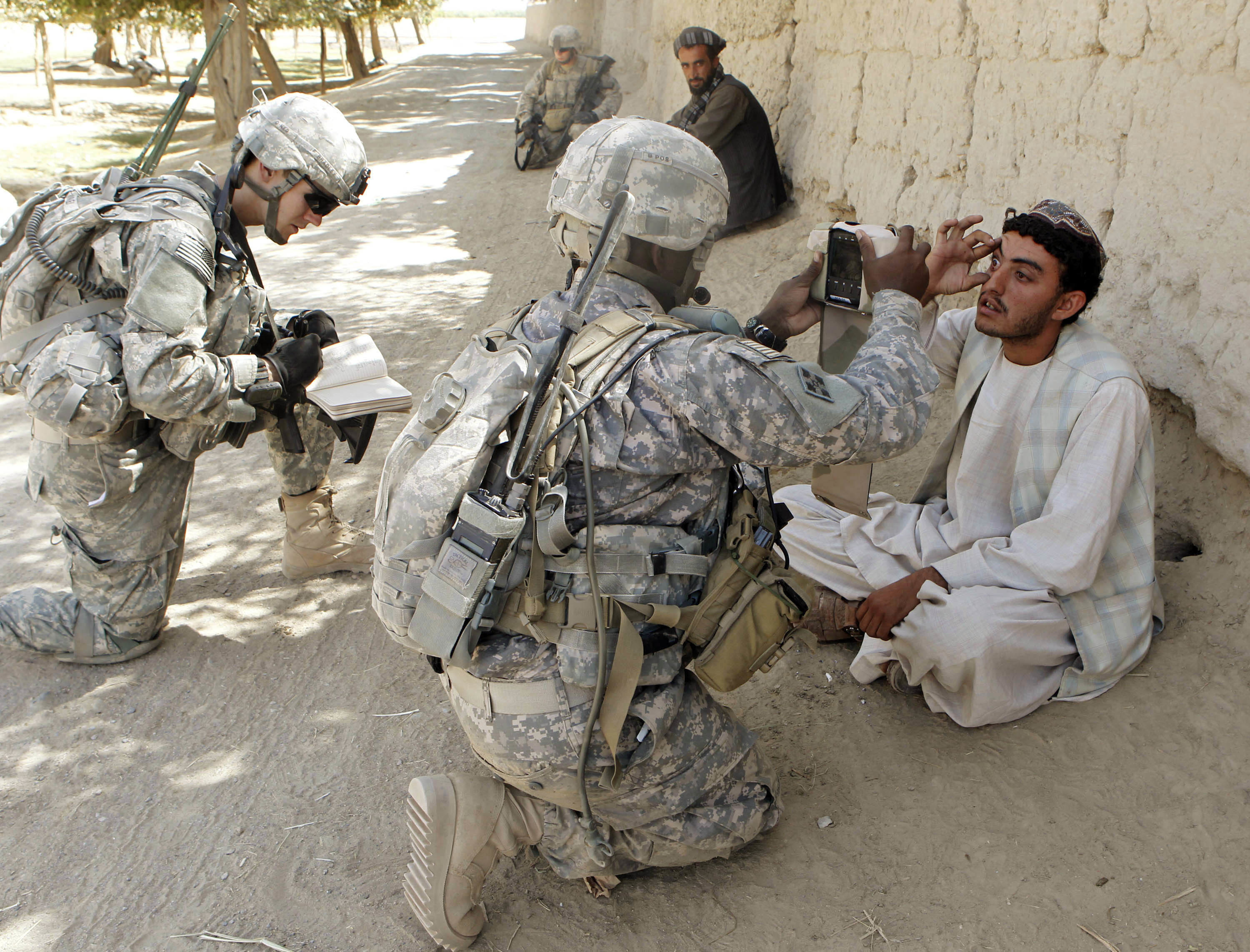 U.S. soldiers from 3rd Platoon, Bravo Company, 1-22 Infantry Battalion collect biometric data from two villagers during a patrol in Shingkay village in Kandahar province in southern Afghanistan October 4, 2010.  REUTERS/Erik de Castro   (AFGHANISTAN - Tags: MILITARY CONFLICT) - GM1E6A503B601