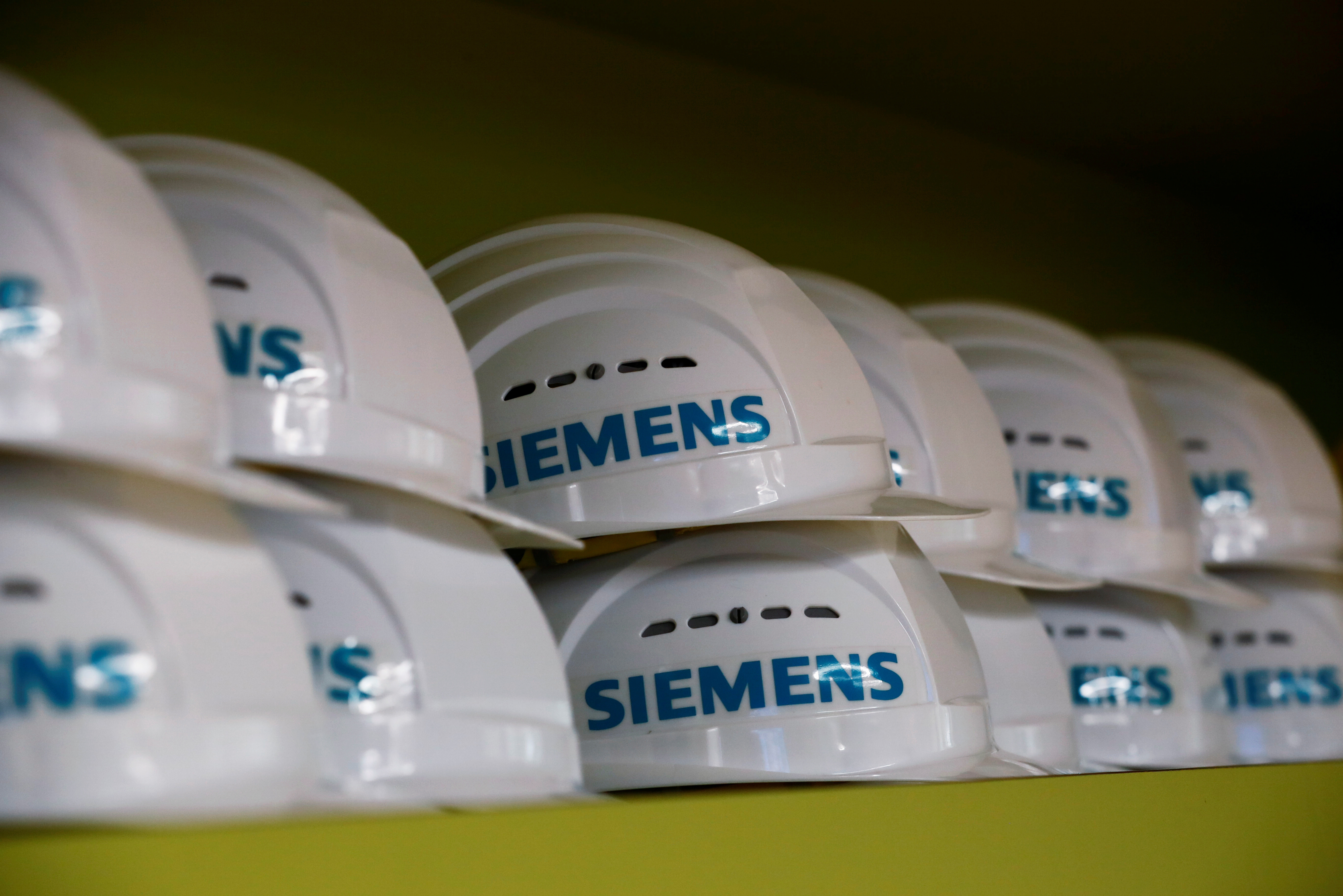 Safety helmets are seen at Siemens company's plant in Goerlitz, Germany, July 15, 2019. REUTERS/Hannibal Hanschke - RC194B4ADC60