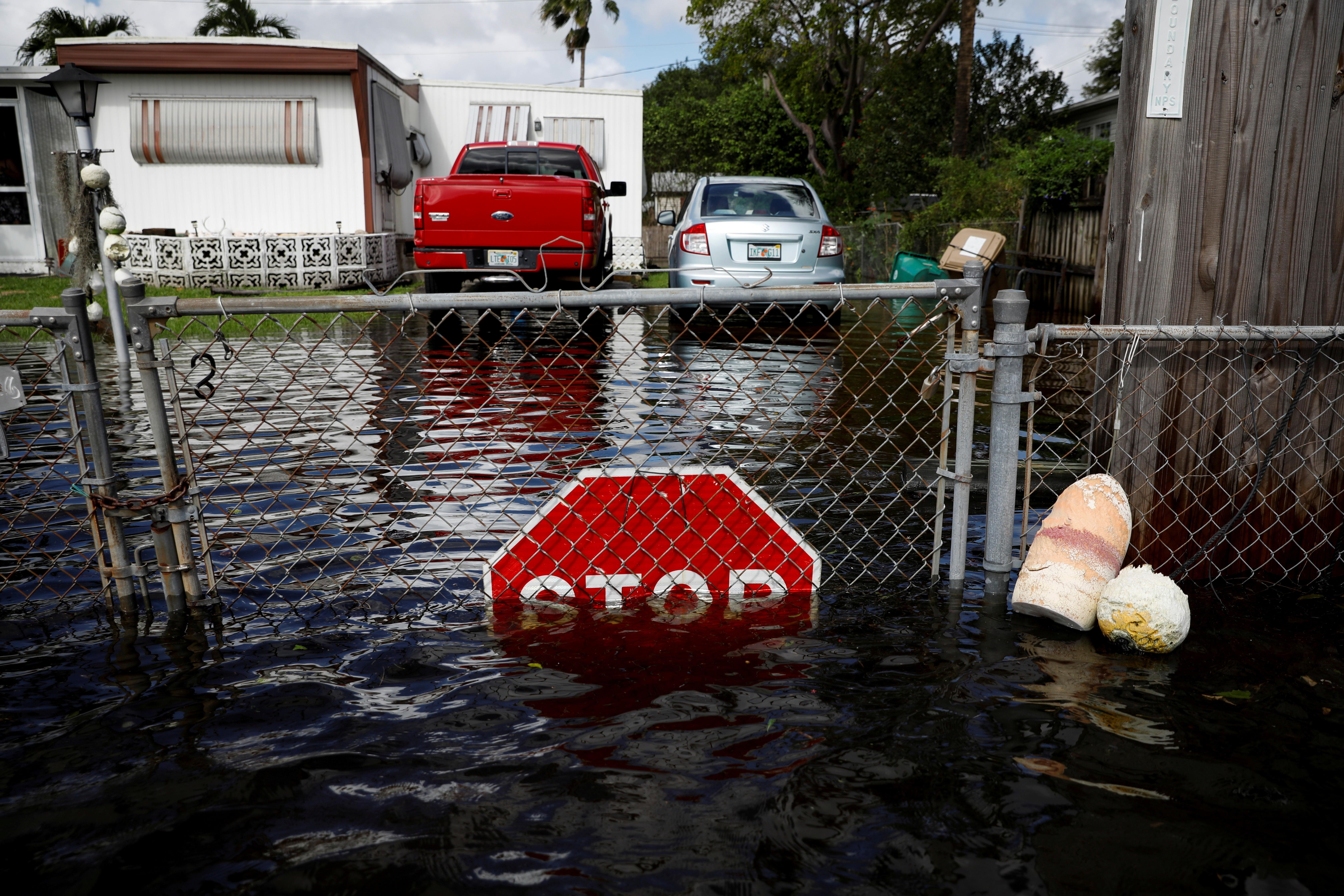 A flood caused by Tropical Storm Eta is seen in Davie, Florida, U.S., November 9, 2020.