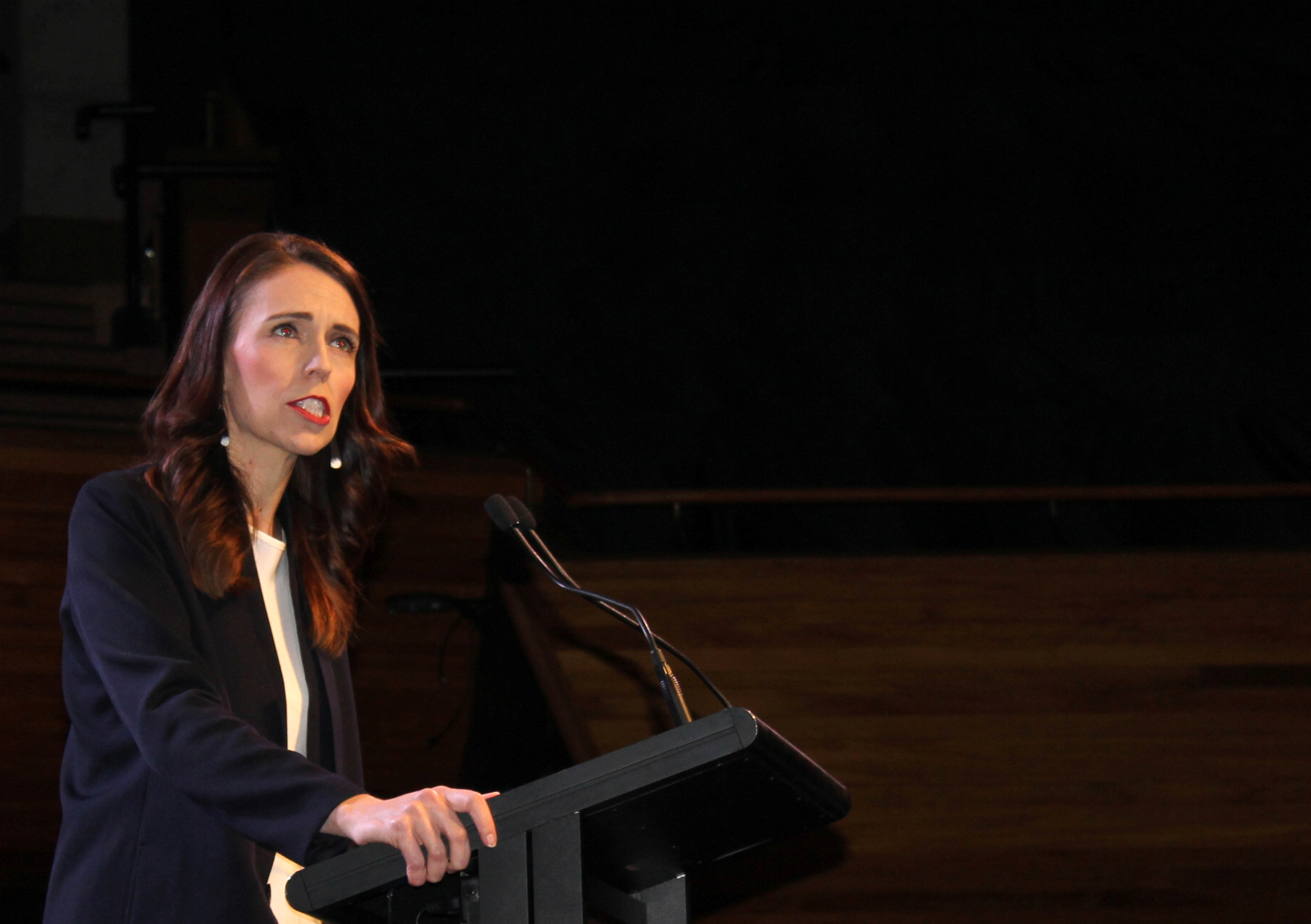 Prime Minister Jacinda Ardern addresses her supporters at a Labour Party event in Wellington, New Zealand, October 11, 2020. REUTERS/Praveen Menon - RC23GJ9CHRK4