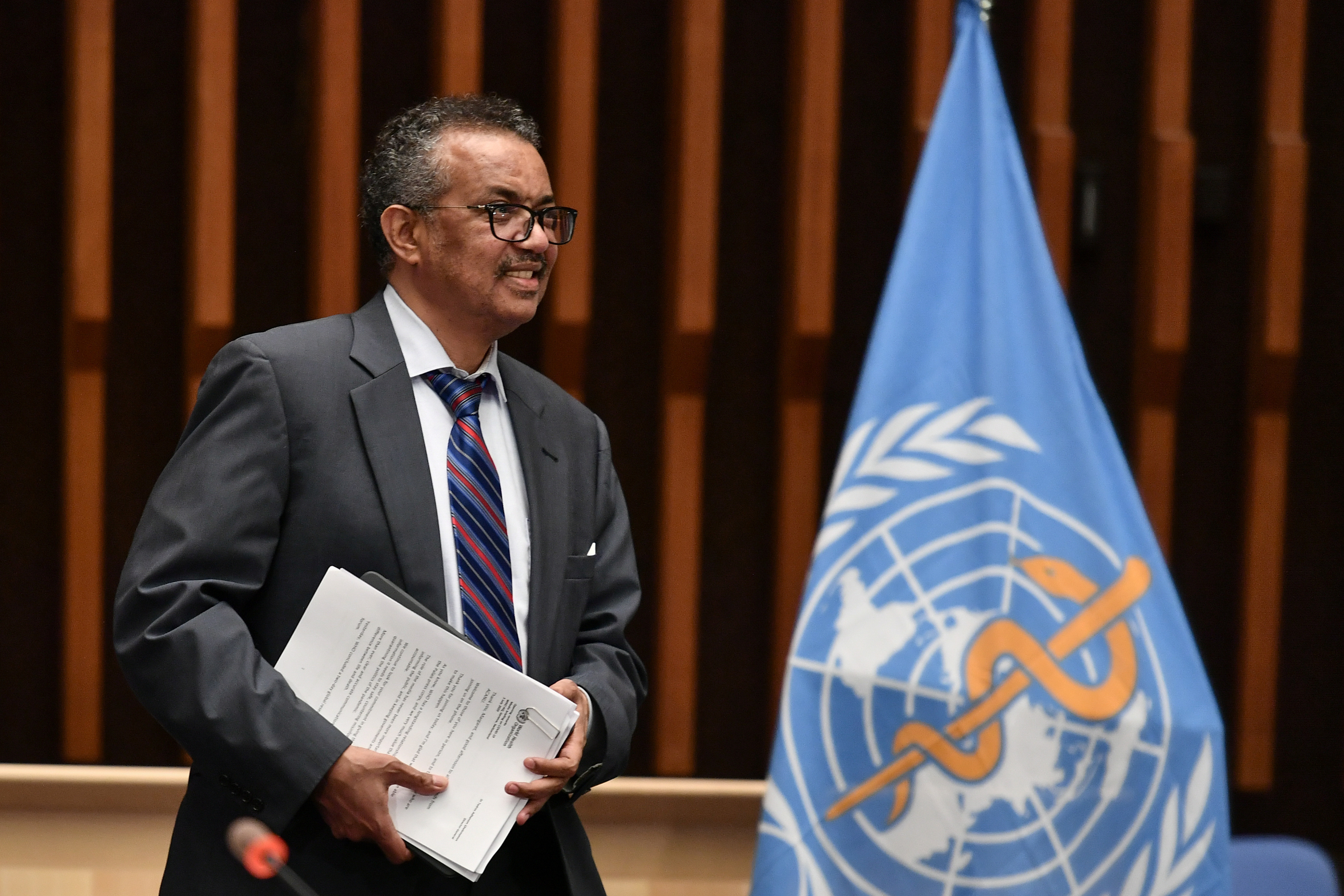 World Health Organization (WHO) Director-General Tedros Adhanom Ghebreyesus arrives at a news conference organized by Geneva Association of United Nations Correspondents (ACANU) amid the COVID-19 outbreak, caused by the novel coronavirus, at the WHO headquarters in Geneva Switzerland July 3, 2020. Fabrice Coffrini/Pool via REUTERS - RC2TLH9YJKTZ