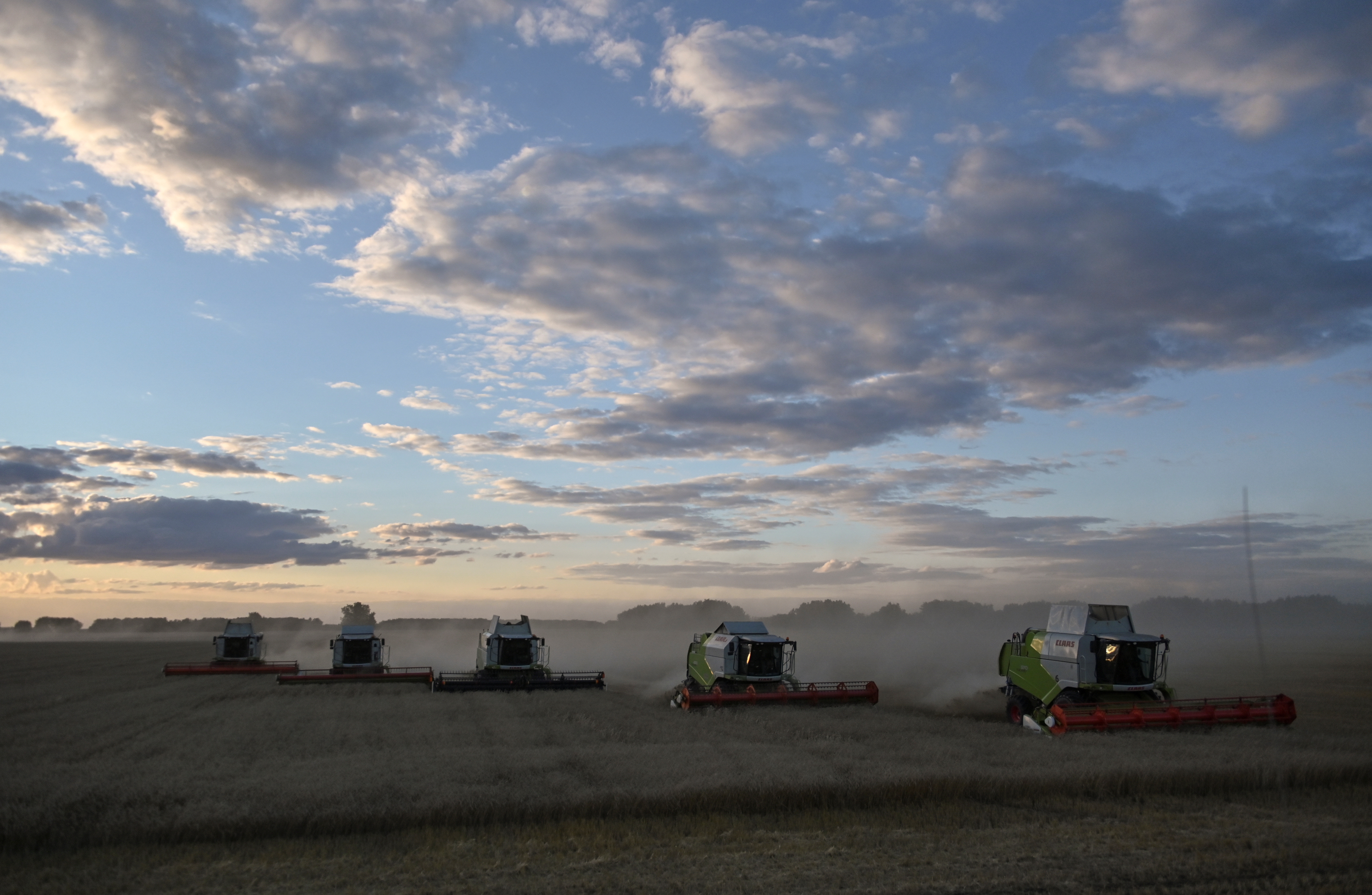 a picture of combine harvesters harvesting a wheat field