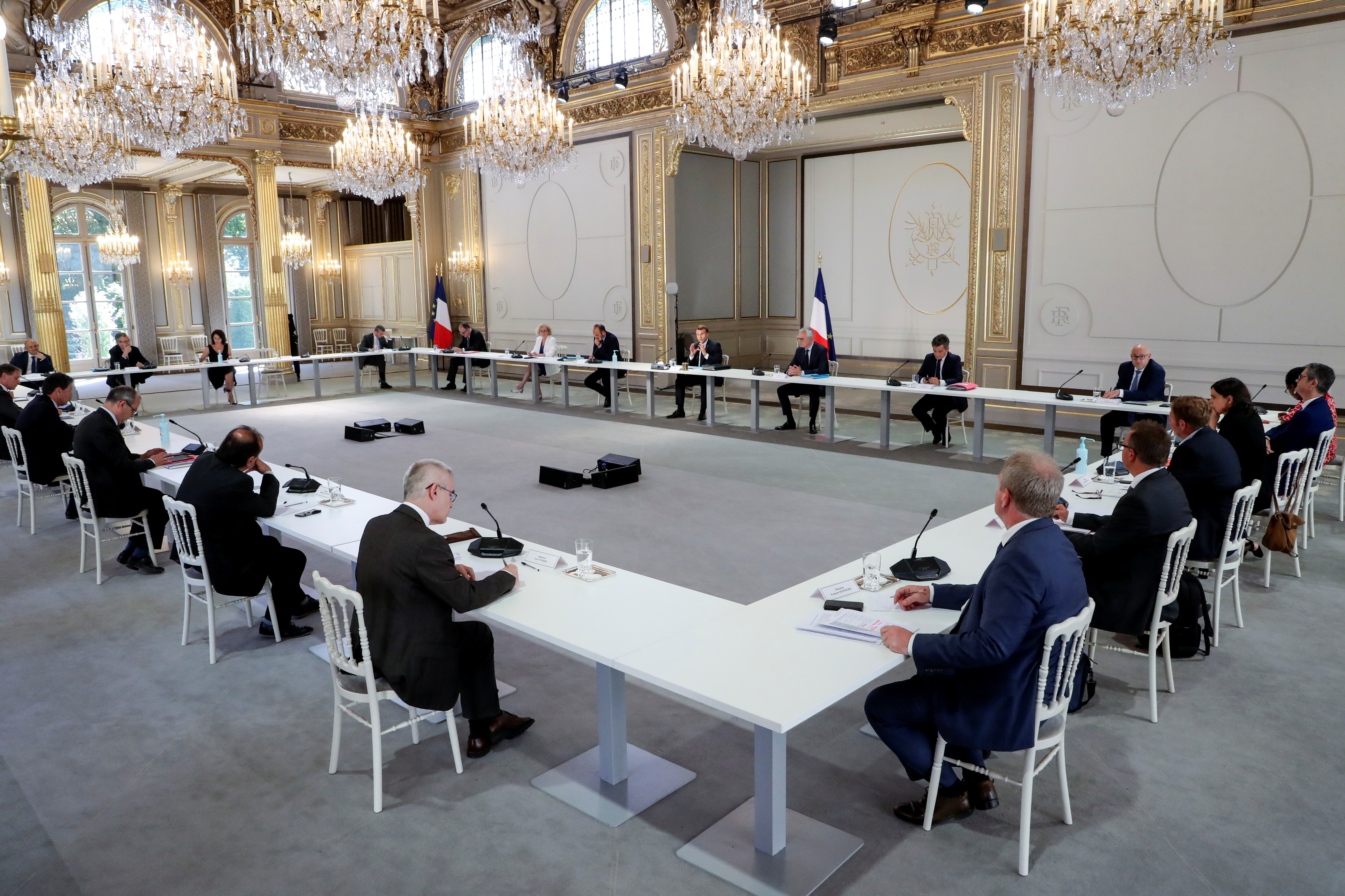 French President Emmanuel Macron attends a meeting with labour union representatives at the Elysee Palace following the coronavirus disease (COVID-19) outbreak, in Paris, France June 24, 2020. Ludovic Marin/Pool via REUTERS - RC2RFH99Y2JK