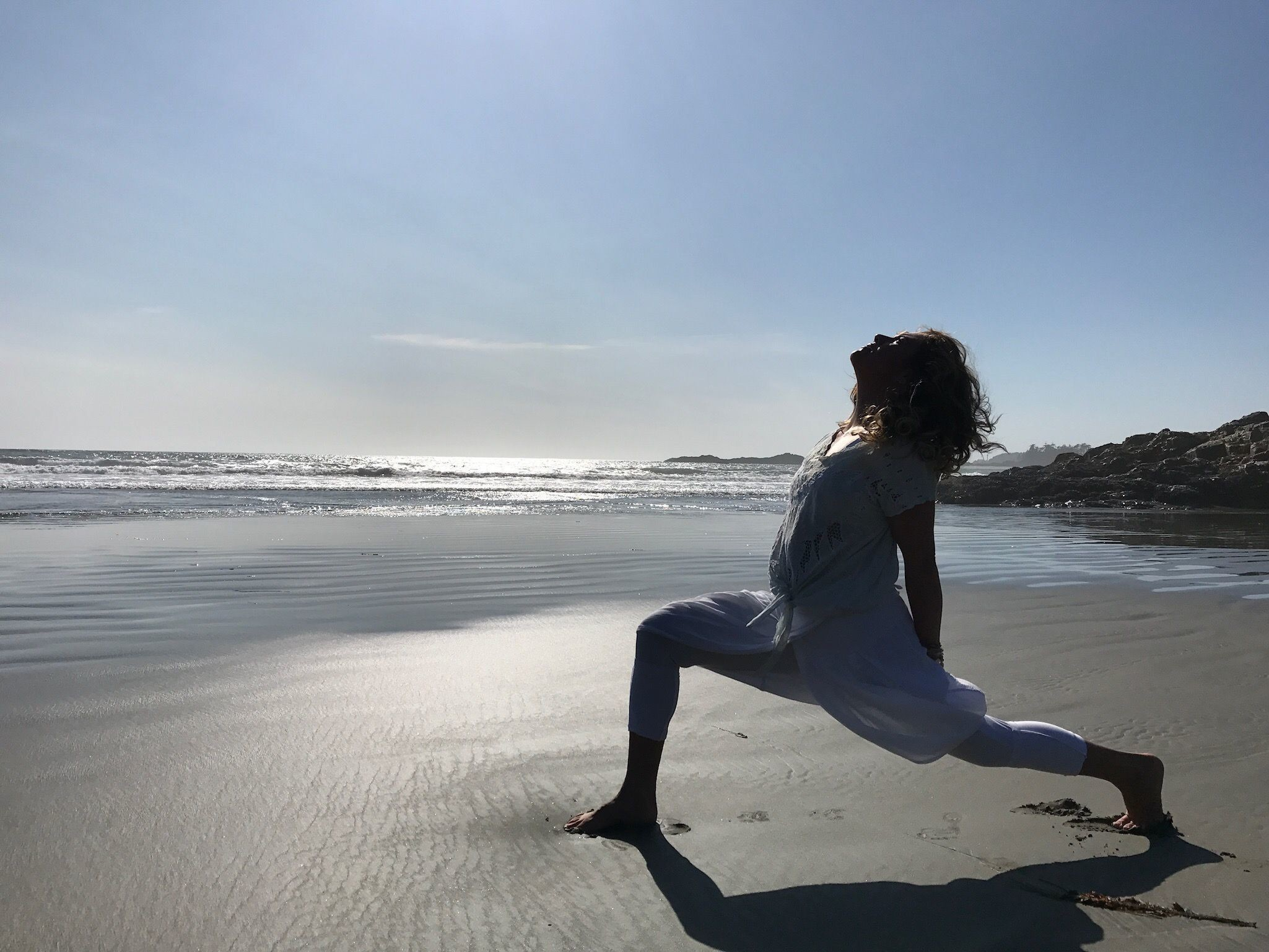Sophie Grégoire Trudeau, wife of Canadian Prime Minister Justin Trudeau, in a yoga pose on the beach
