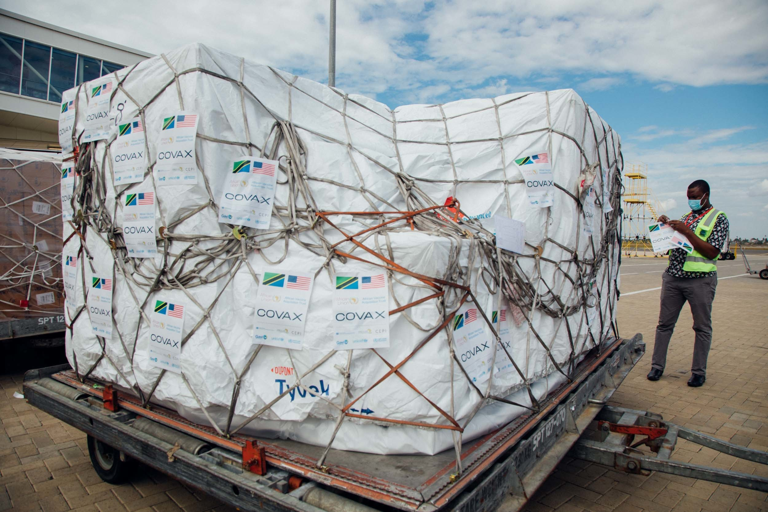 Vaccines are delivered to Tanzania as part of COVAX programme.