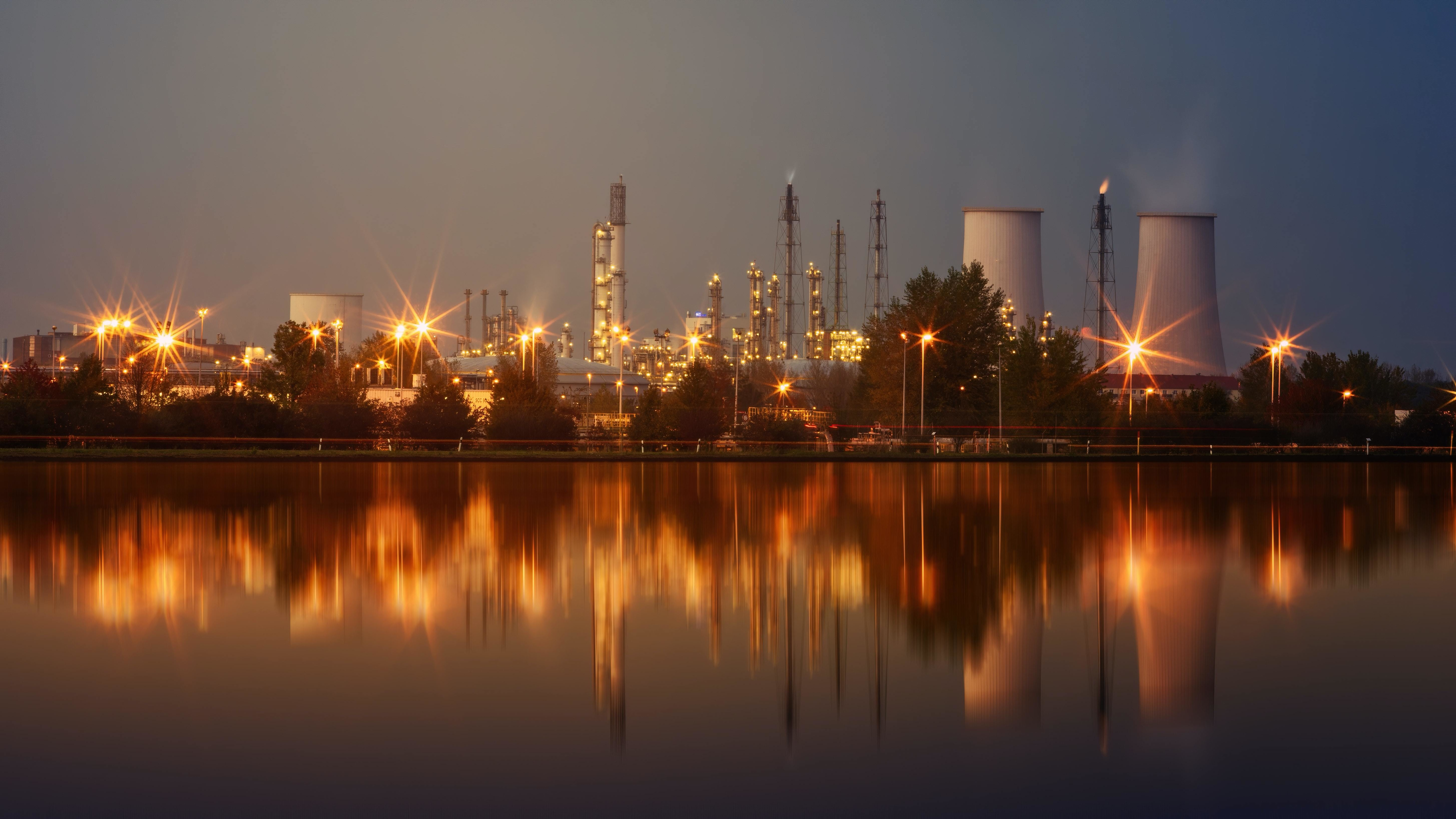 Oil refinery by night.