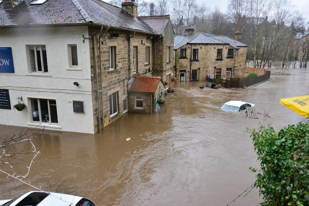 image of flooding in Bingley, UK