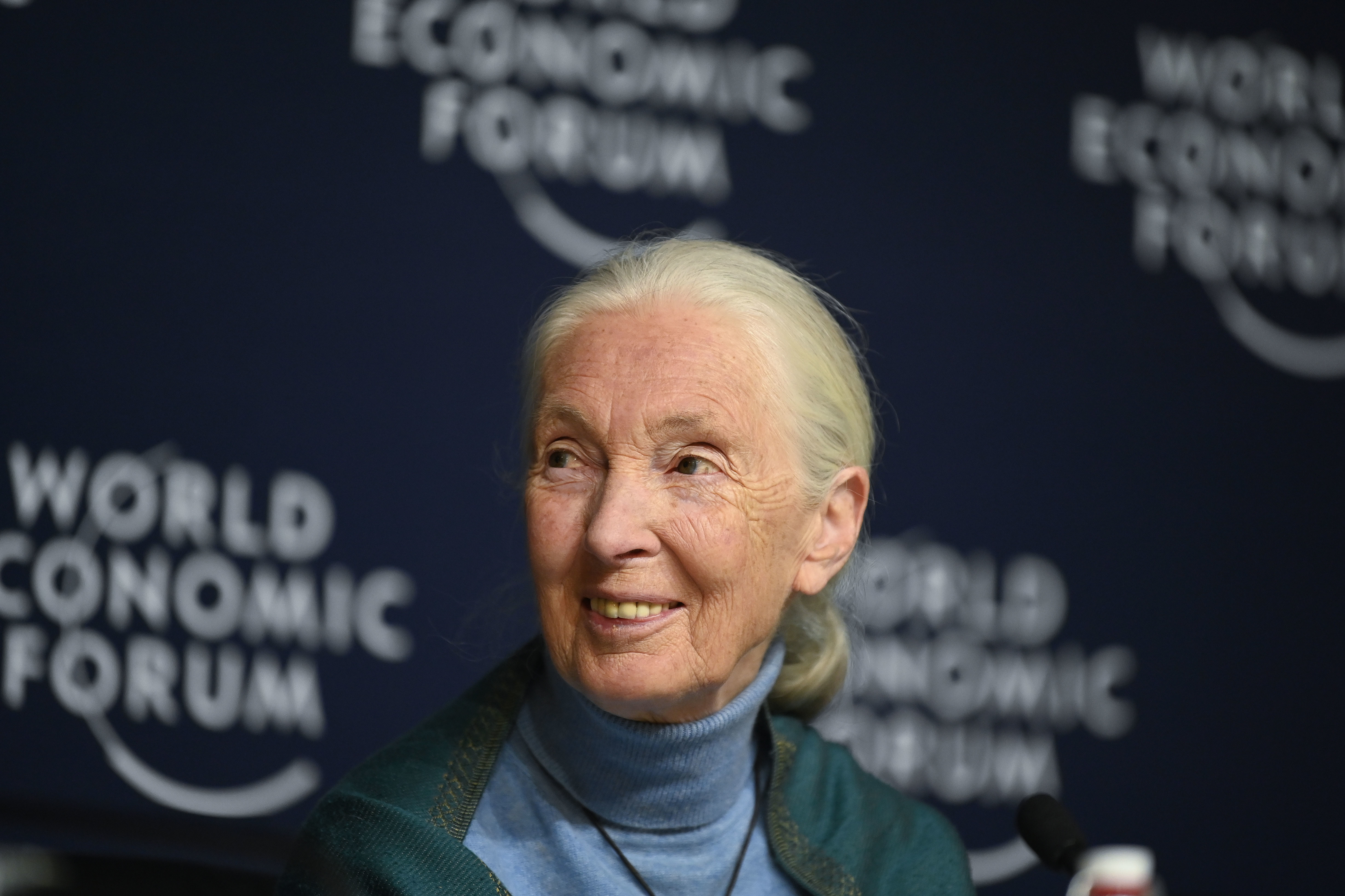 Jane Goodall, Founder Jane Goodall Institute, UK speaking in the One Trillion Trees session at the World Economic Forum Annual Meeting 2020 in Davos-Klosters, Switzerland, 22 January. Congress Centre - Press Conference Room. Copyright by World Economic Forum / Valeriano Di Domenico