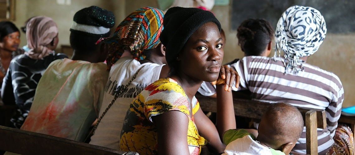 Class for young girls who fell pregnant during the Ebola crisis, in Sierra Leone.