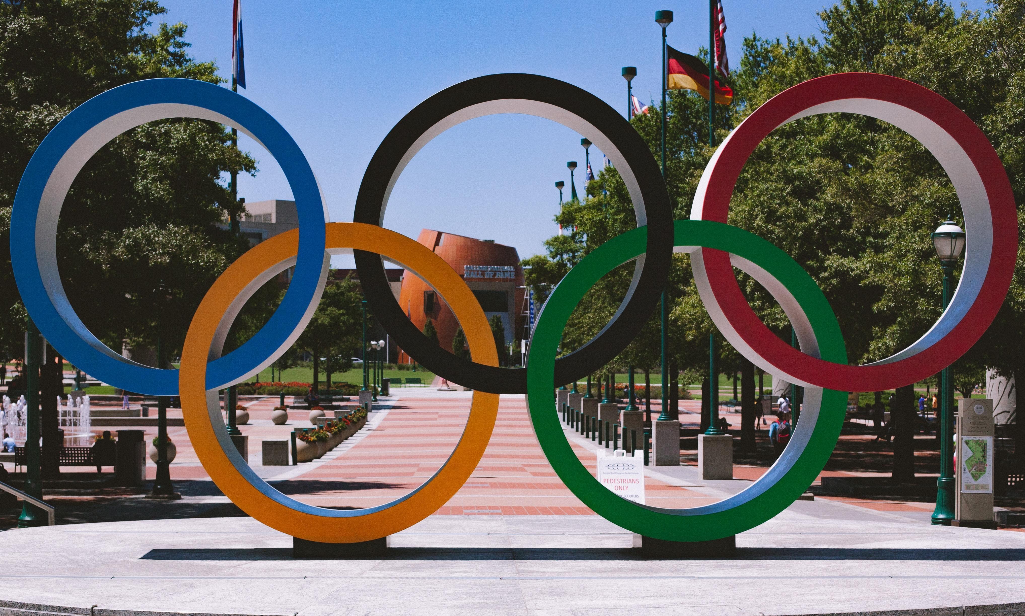 The Olympic symbol.