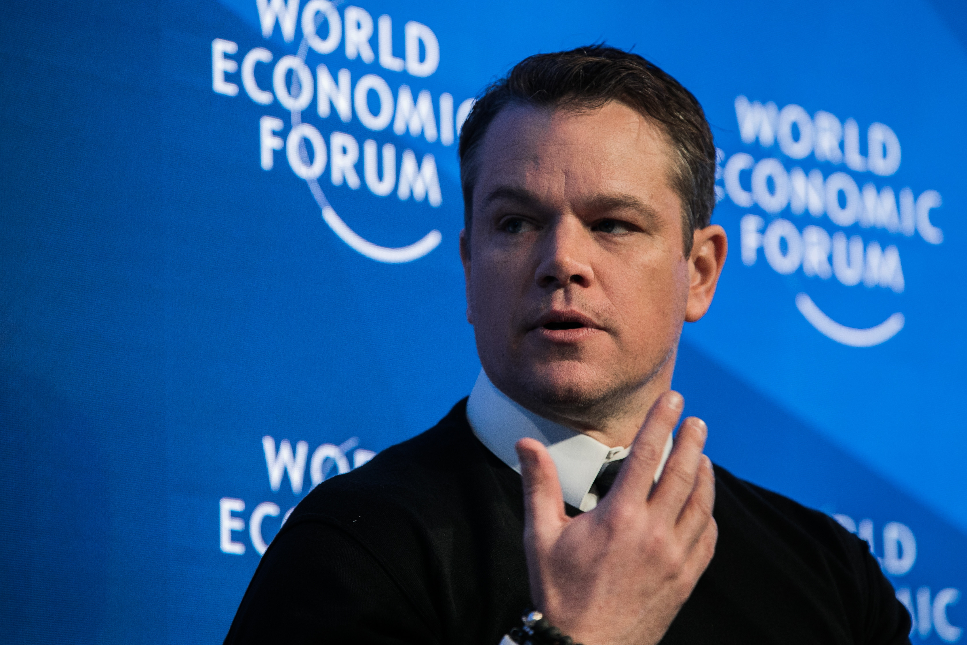 Matt Damon, Co-Founder, Water.org, USA speaking at the Annual Meeting 2017 of the World Economic Forum in Davos, January 17, 2017.Copyright by World Economic Forum / Jakob Polacsek