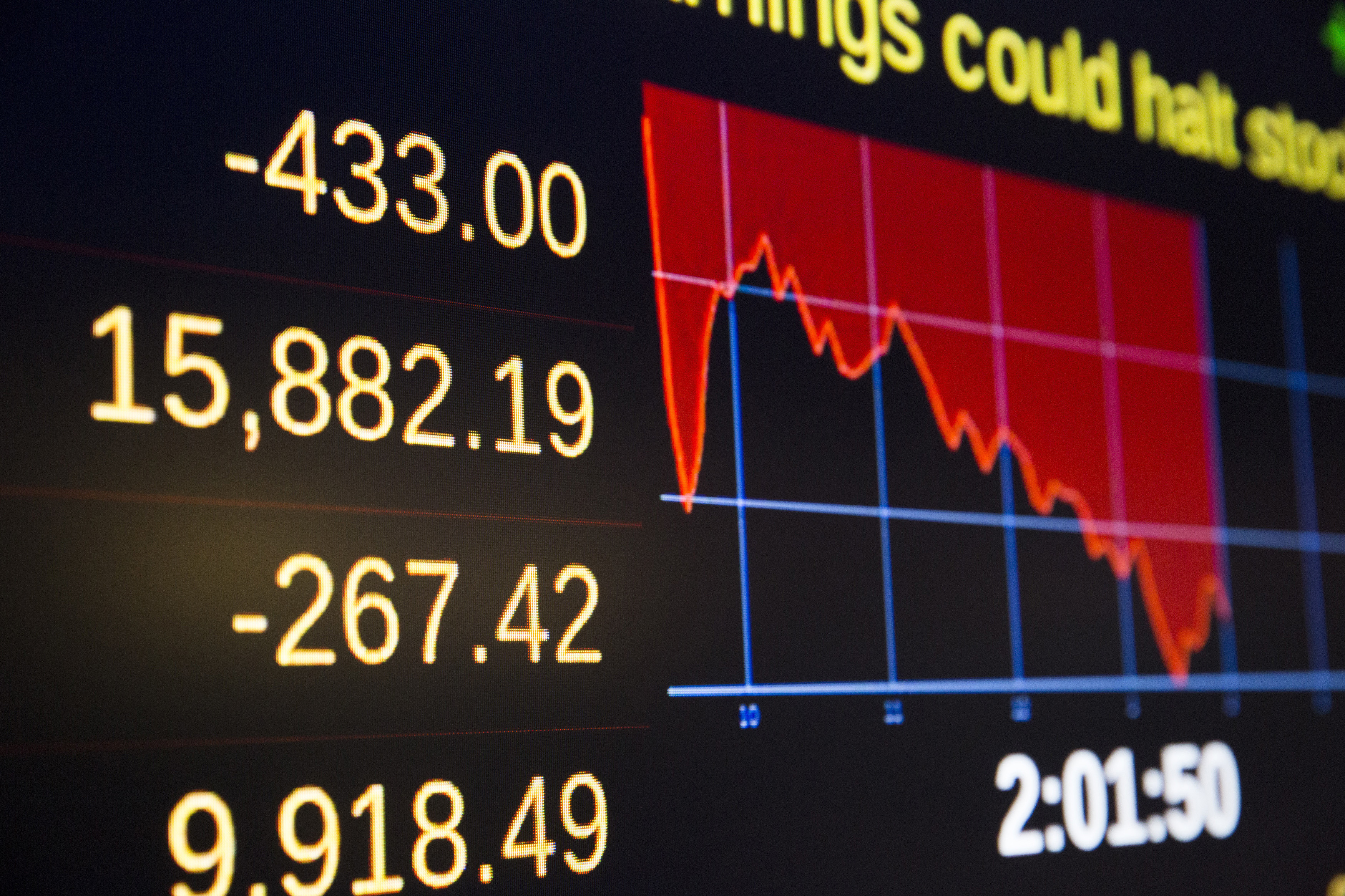 a board showing a generic economic trading price plummeting