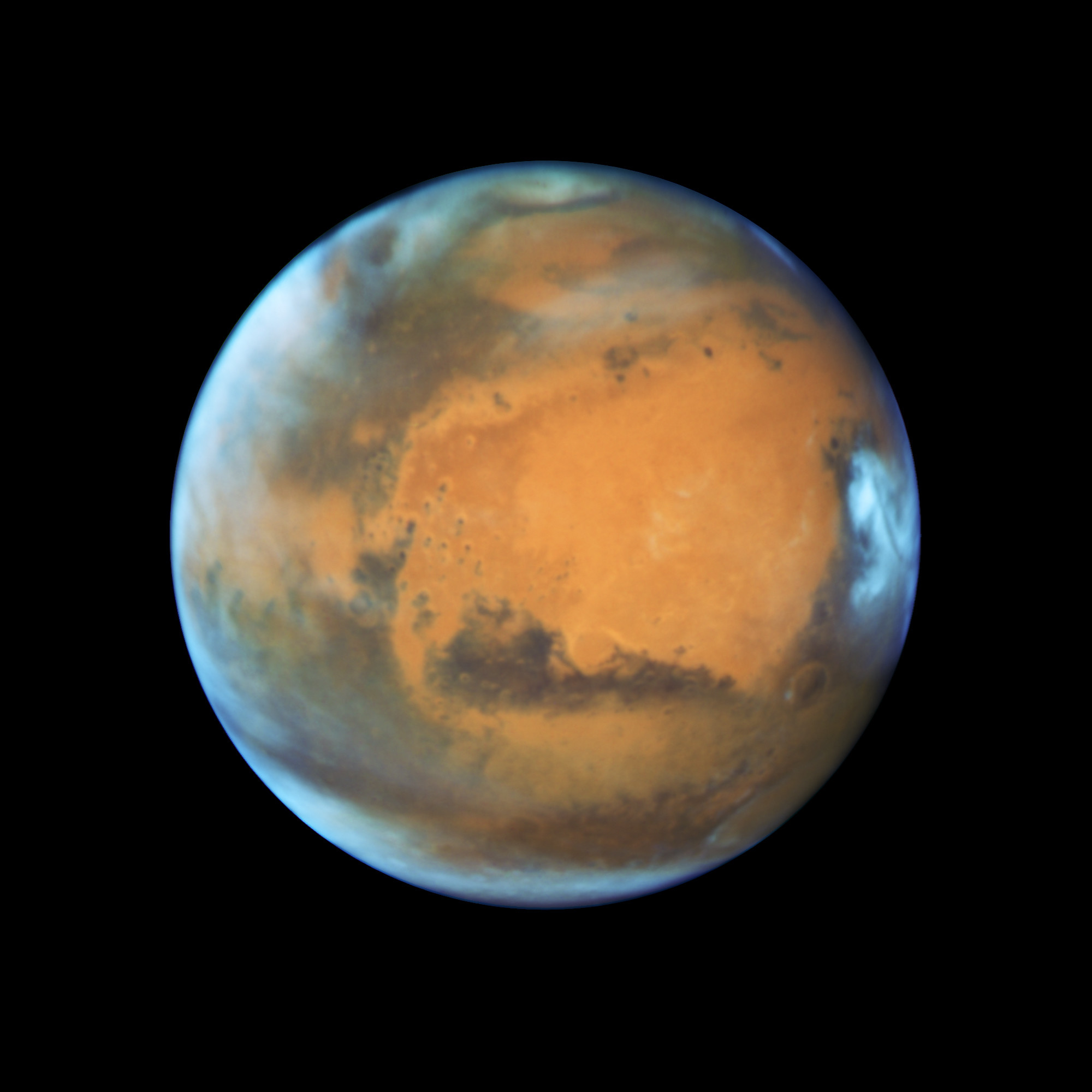 The planet Mars is shown May 12, 2016 in this NASA Hubble Space Telescope view taken May 12, 2016 when it was 50 million miles from Earth. Earth's neighbor planet makes its closest approach in a decade this month, providing sky-watchers with a celestial show from dusk to dawn.    NASA/Handout via Reuters   ATTENTION EDITORS - THIS IMAGE WAS PROVIDED BY A THIRD PARTY. EDITORIAL USE ONLY - TM3EC5J10N801
