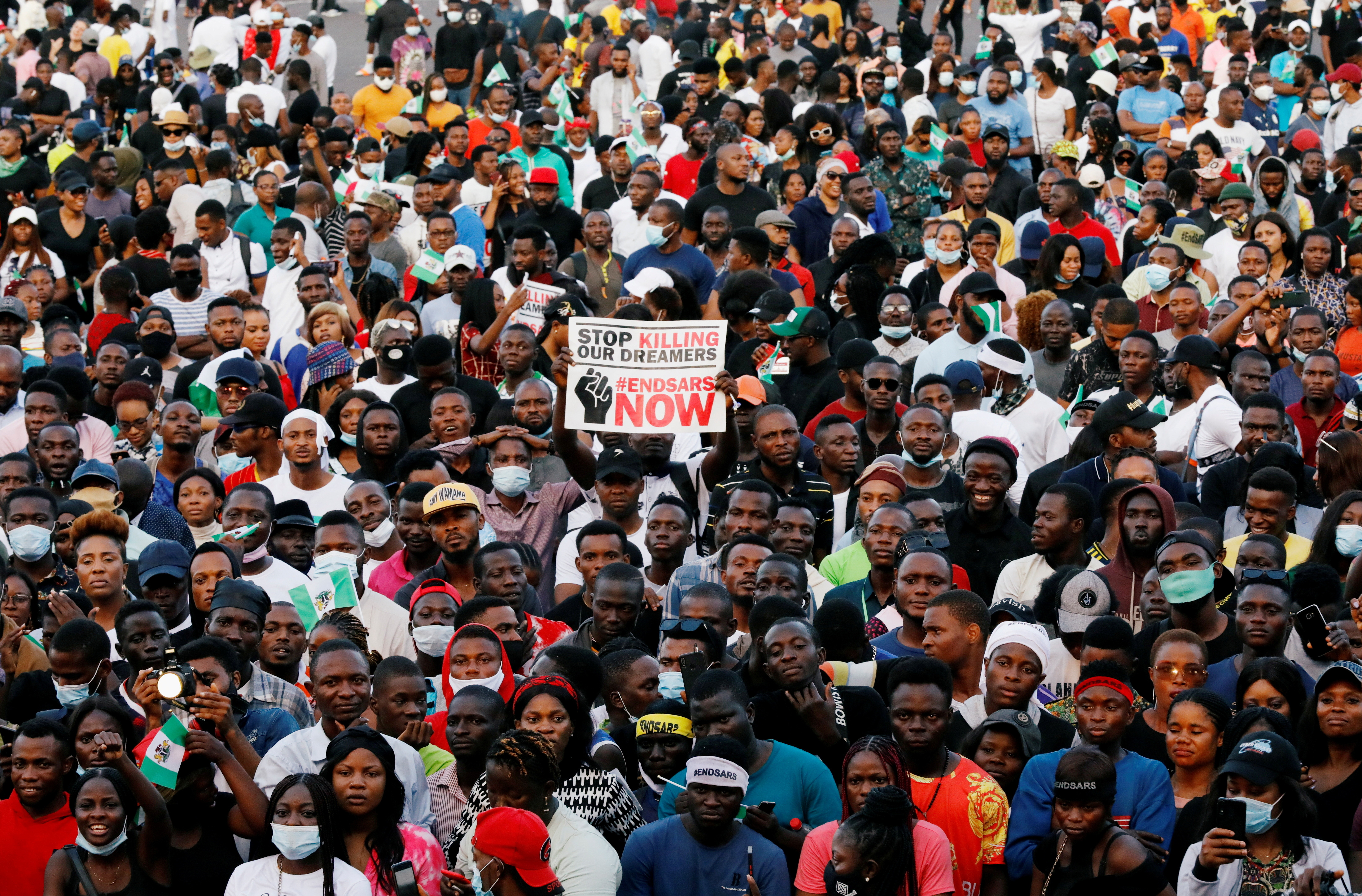 Demonstrators gather during a protest over alleged police brutality in Lagos, Nigeria October 17, 2020.