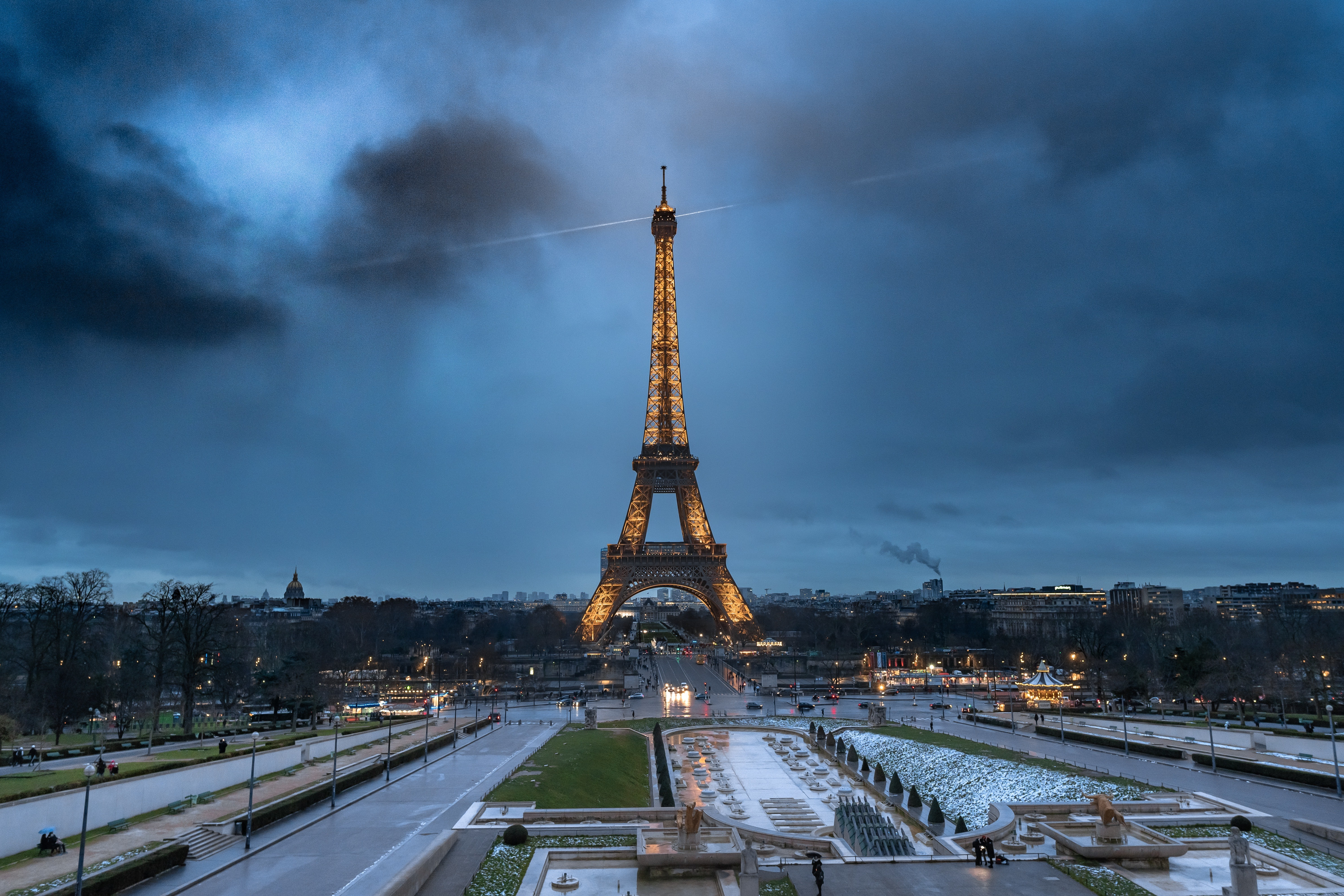 The Eiffel tower is seen in Paris, pictured at night.