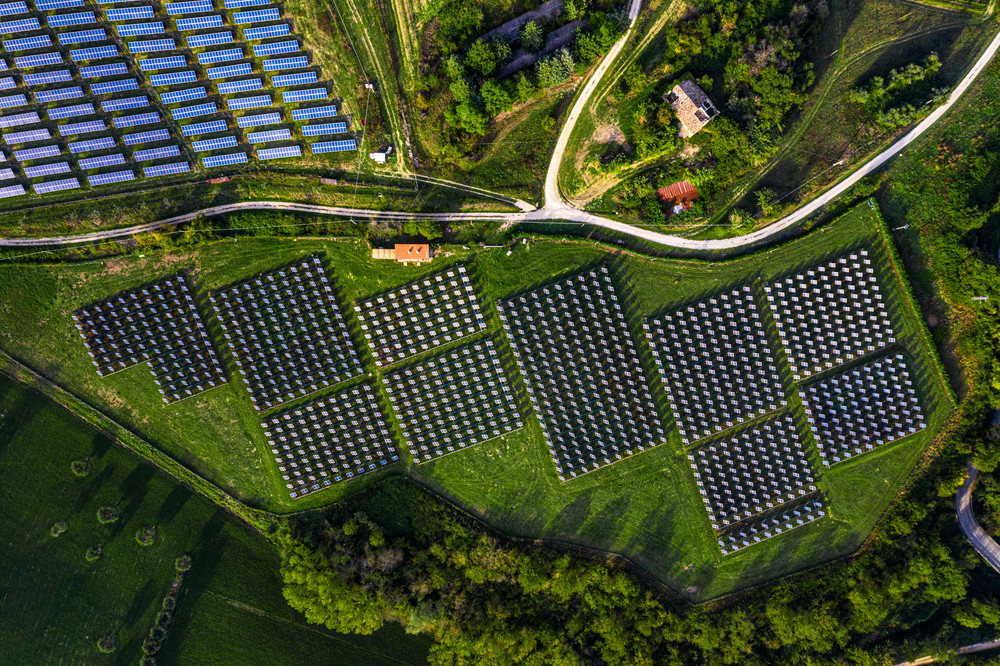 Solar energy station in countryside aerial view