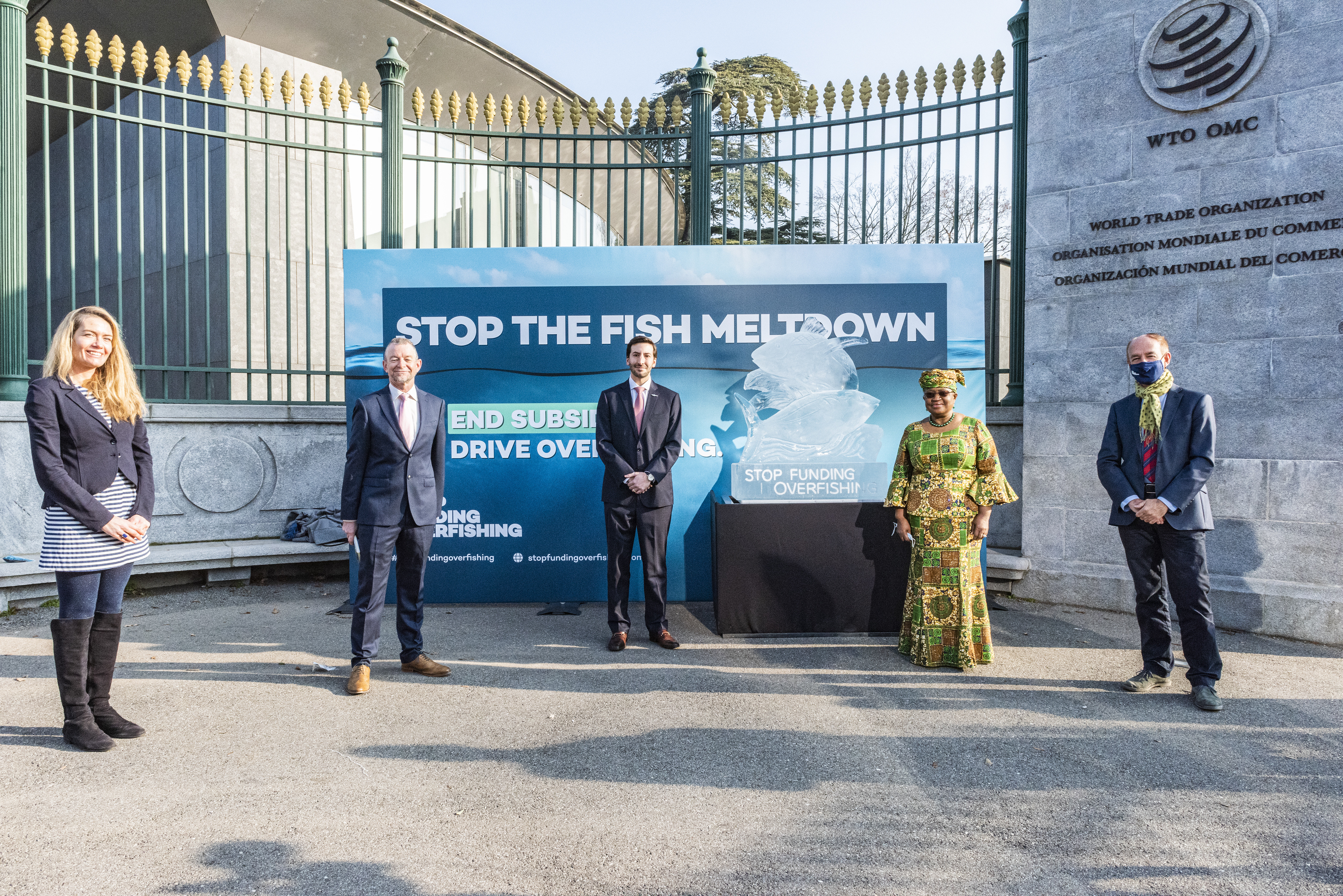 To mark the occasion of newly appointed Director-General Ngozi Okonjo-Iweala's term on 1 March 2021, the Stop Funding Overfishing campaign positioned an ice sculpture of a fish in front of the WTO's HQ.