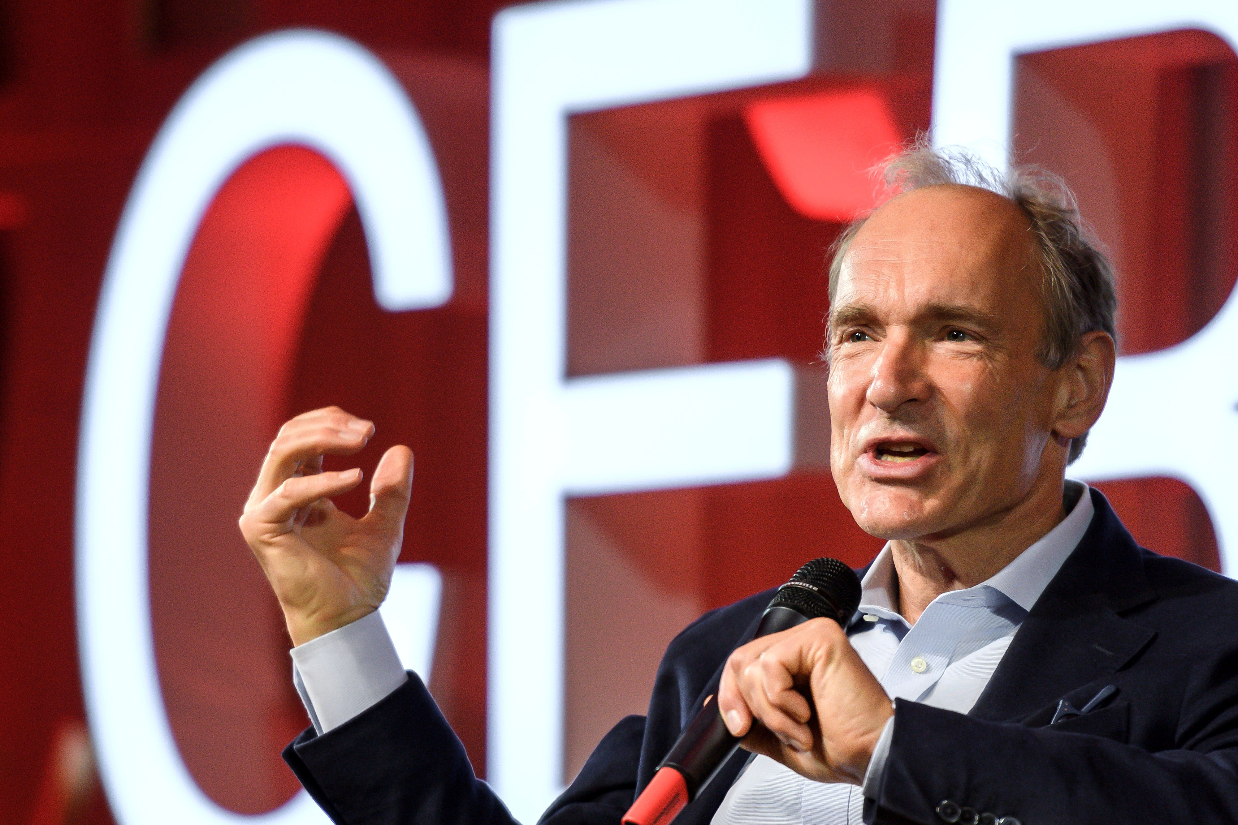 World Wide Web inventor Tim Berners-Lee delivers a speech during an event marking 30 years of World Wide Web, on March 12, 2019 at the CERN in Meyrin near Geneva, Switzerland. Fabrice Coffrini/Pool via REUTERS - RC1EB2A7A4F0