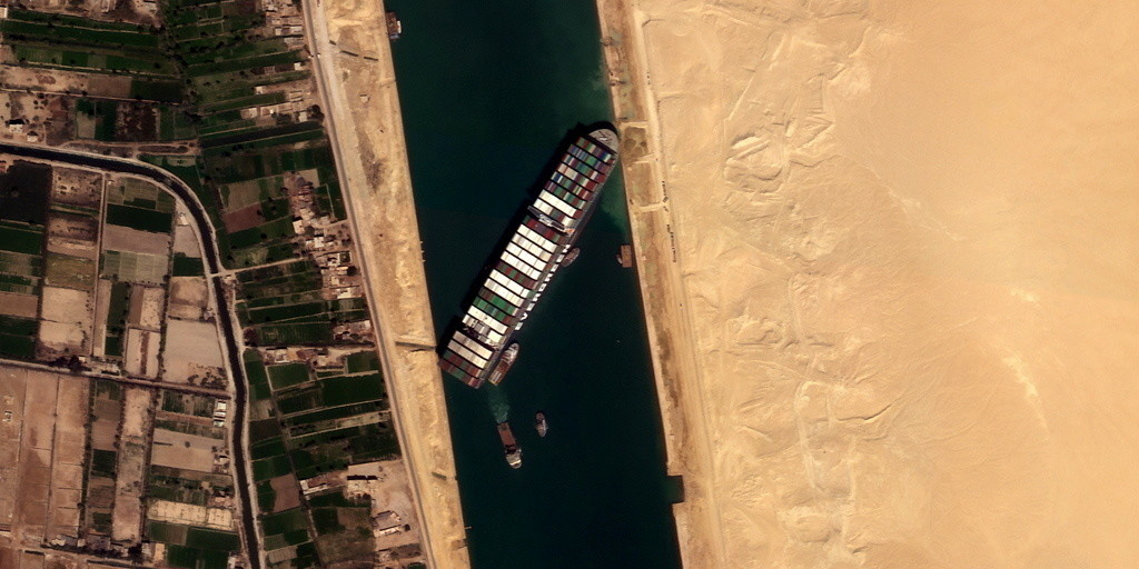 Ever Given container ship is seen in Suez Canal in this satellite image taken by Satellogics New Sat-16 on March 25, 2021.