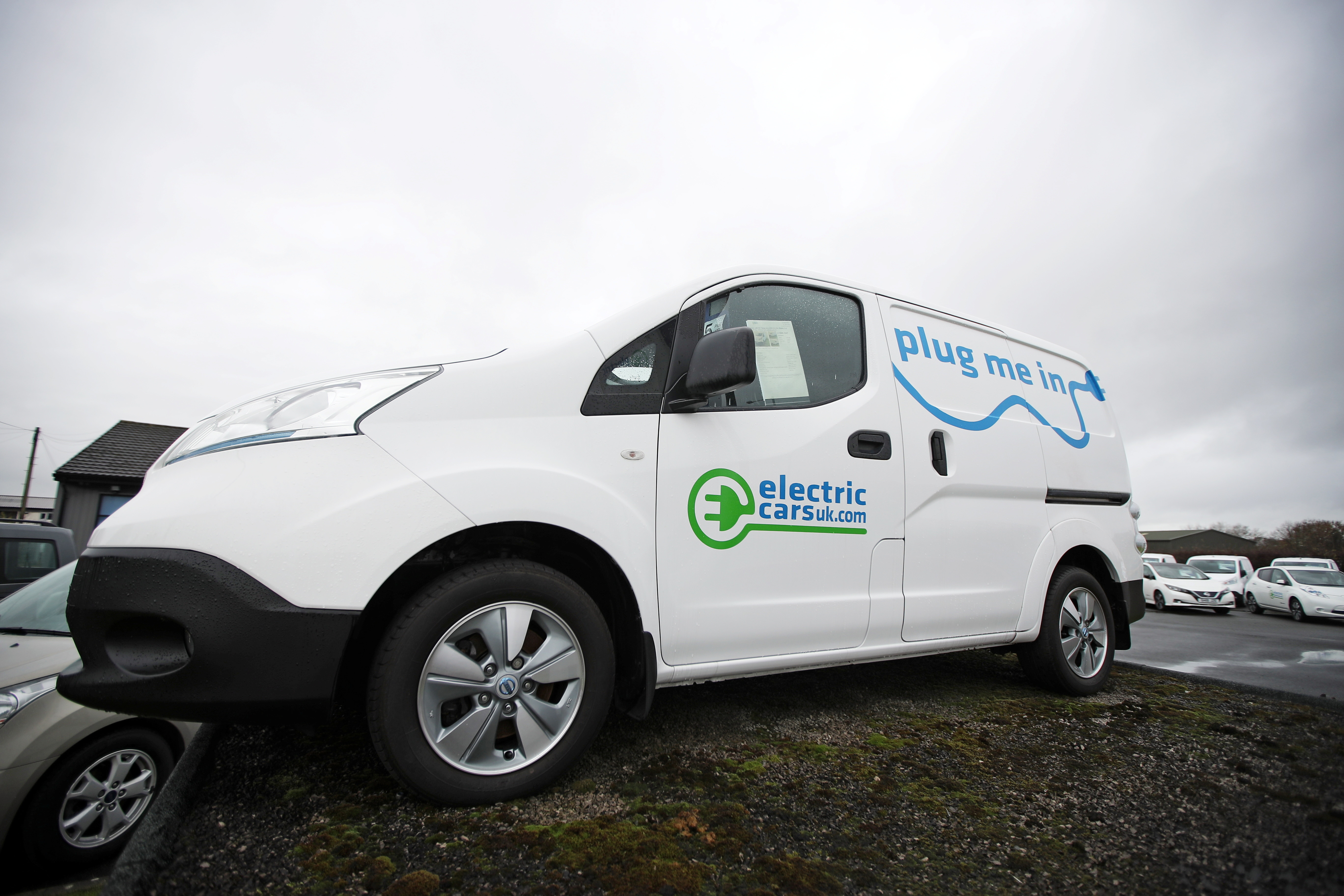 a picture of a parked electric van