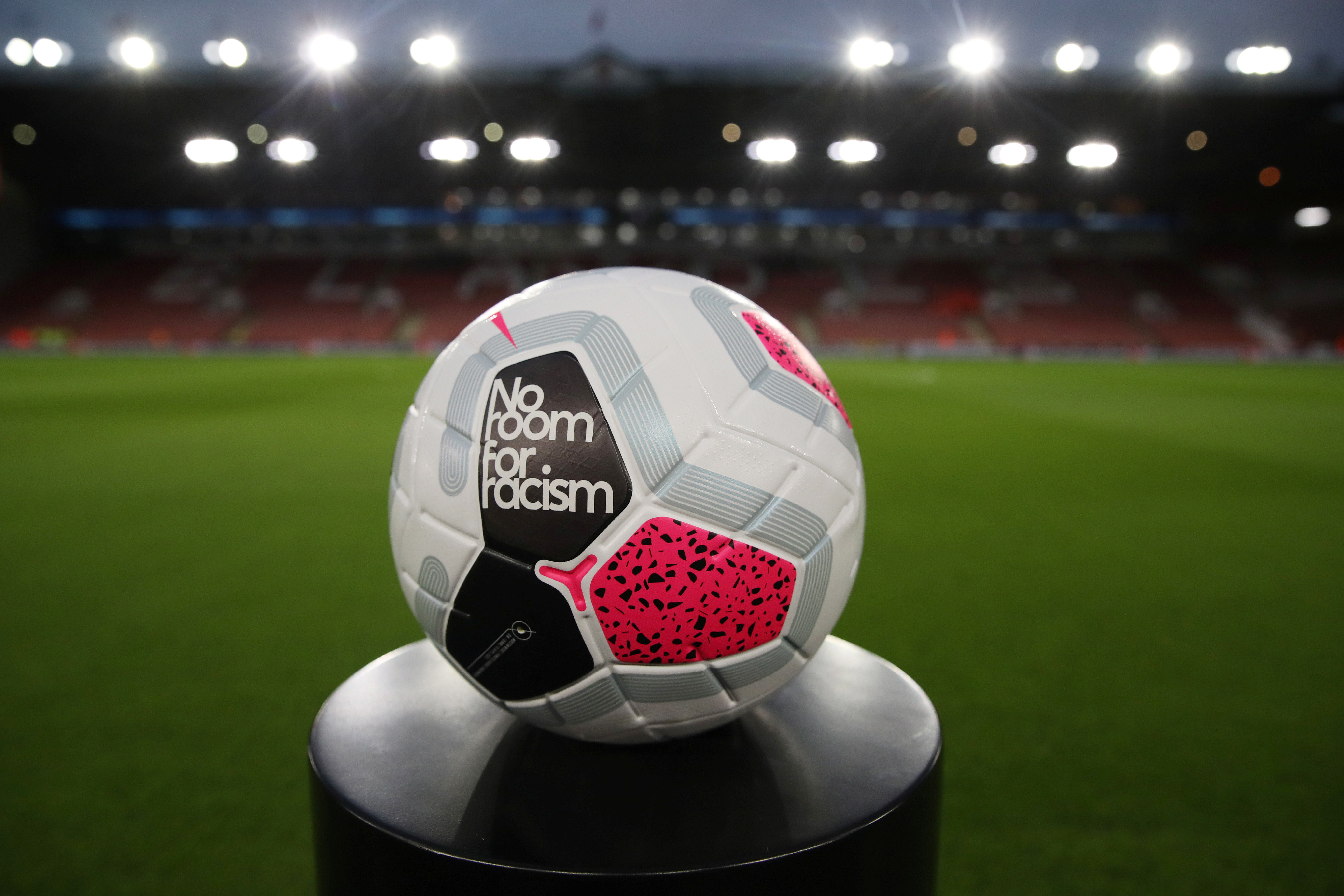 """Soccer Football - Premier League - Sheffield United v Arsenal - Bramall Lane, Sheffield, Britain - October 21, 2019  General view of the matchball with a 'No Room for Racism' message inside the stadium before the match   Action Images via Reuters/Carl Recine  EDITORIAL USE ONLY. No use with unauthorized audio, video, data, fixture lists, club/league logos or """"live"""" services. Online in-match use limited to 75 images, no video emulation. No use in betting, games or single club/league/player publications.  Please contact your account representative for further details. - RC1B30D7AB70"""