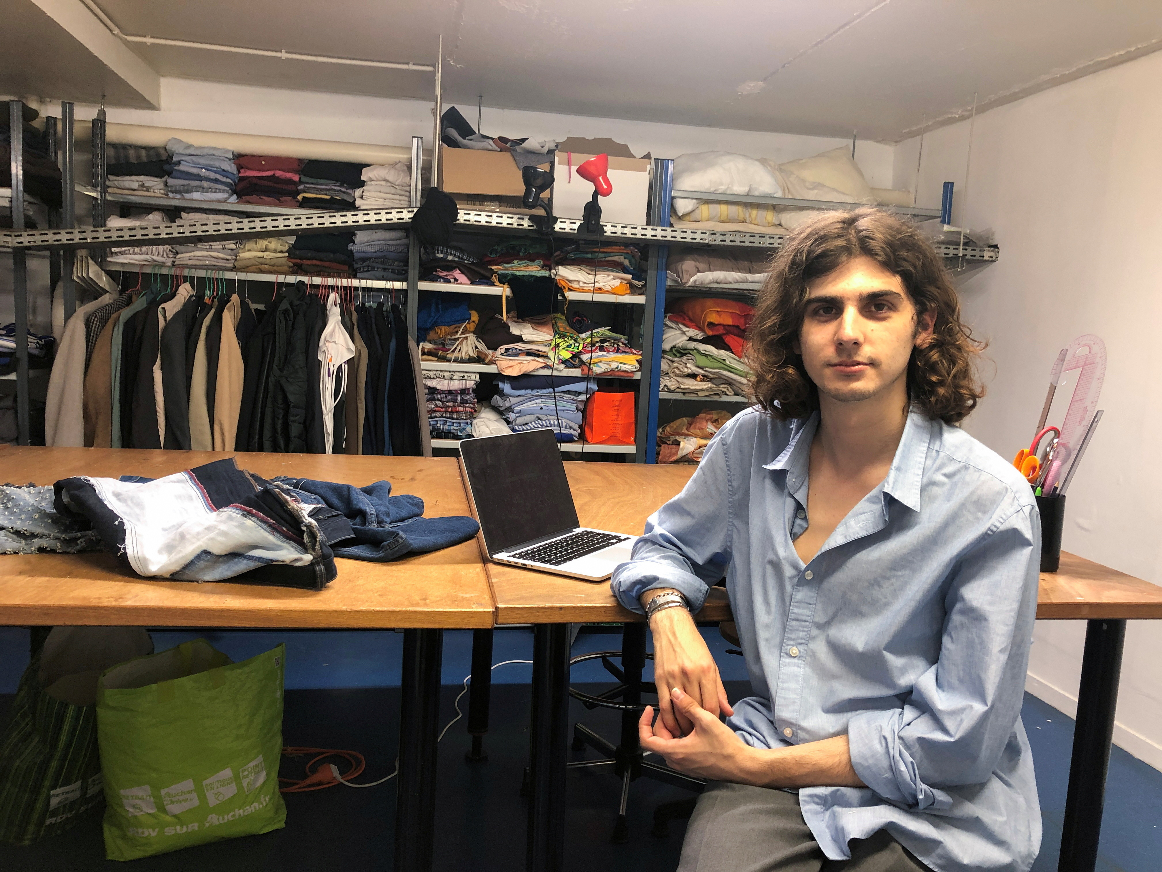 Fashion design student Hugo Castejon-Blanchard from the Institut Francais de la Mode, is seen at a workshop in Antony, near Paris, France.