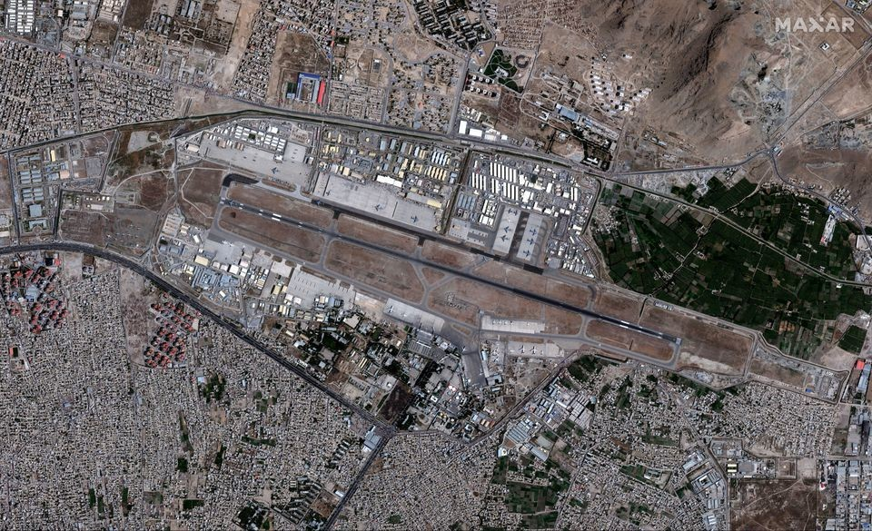 An overview of the Hamid Karzai International Airport, in Kabul, Afghanistan August 24, 2021, in this satellite image obtained by Reuters on August 26, 2021.
