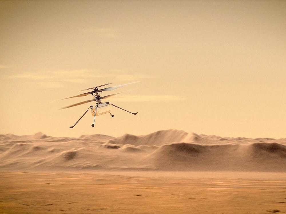 An artist's concept of NASA's Ingenuity Mars helicopter flying through the Martian skies.